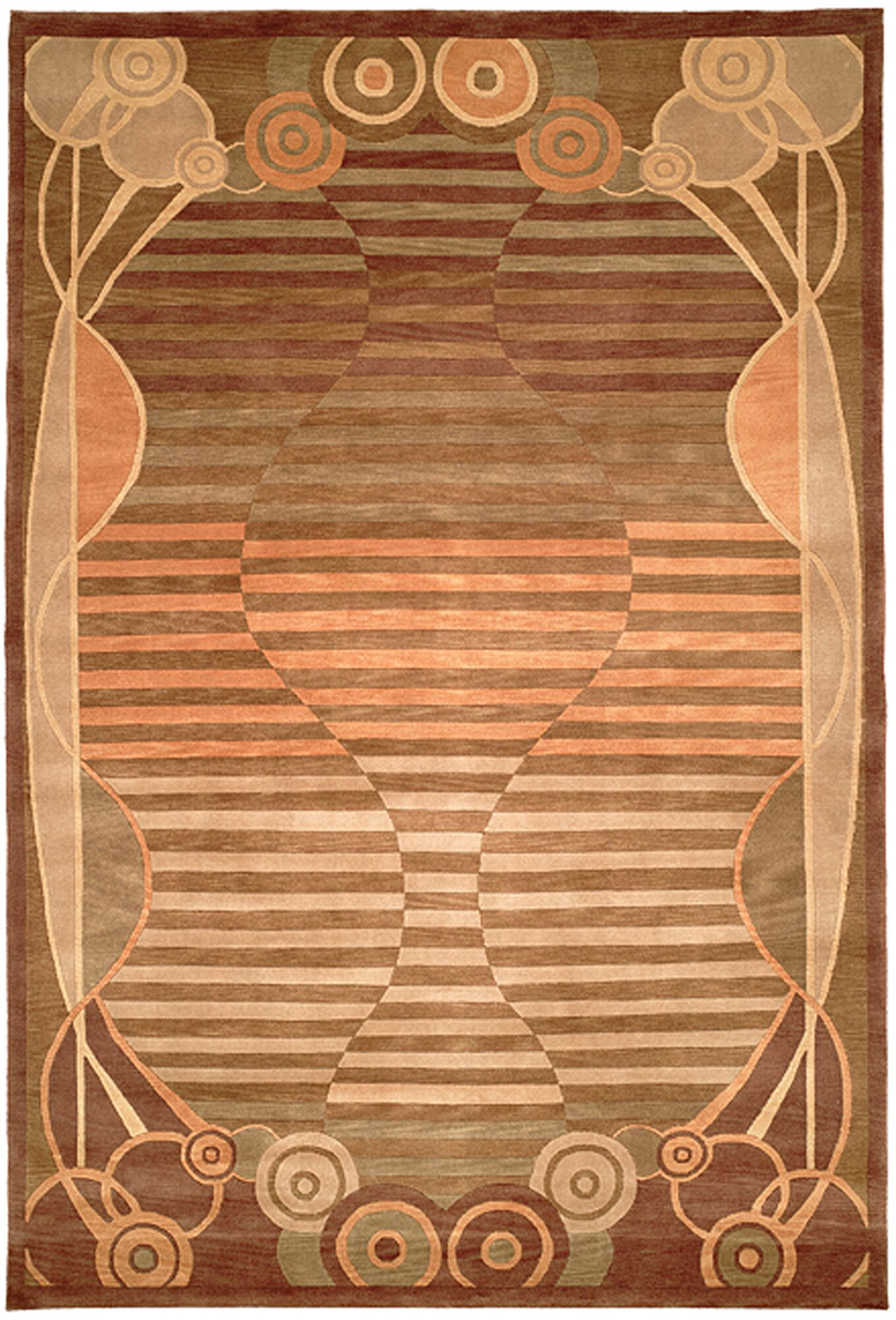 Kneiske Tibetan Hand Knotted Wool Brown/Pink Area Rug Rug Size: Rectangle 9' x 12'