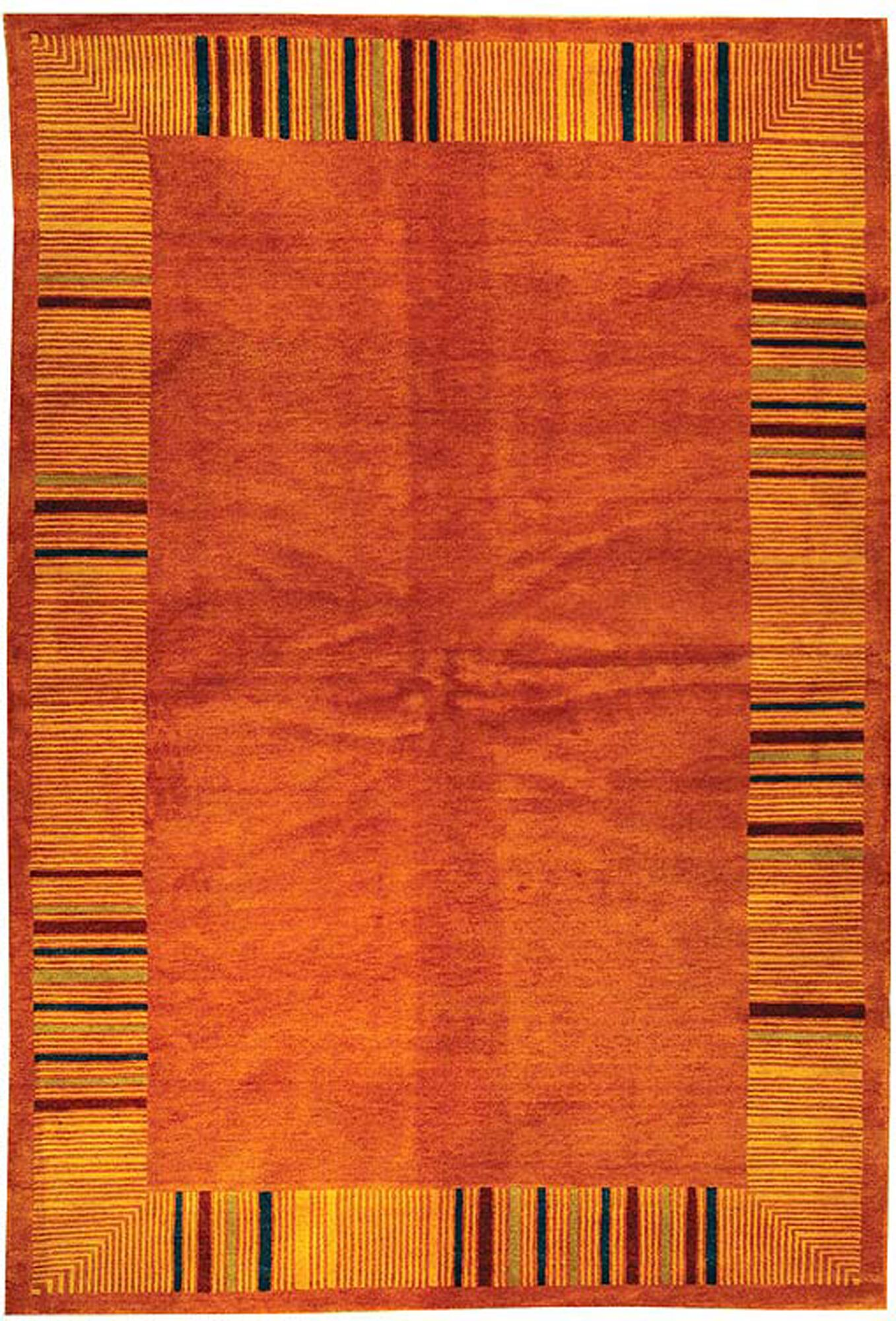 Kneiske Tibetan Hand Knotted Rust Area Rug Rug Size: Rectangle 10' x 14'