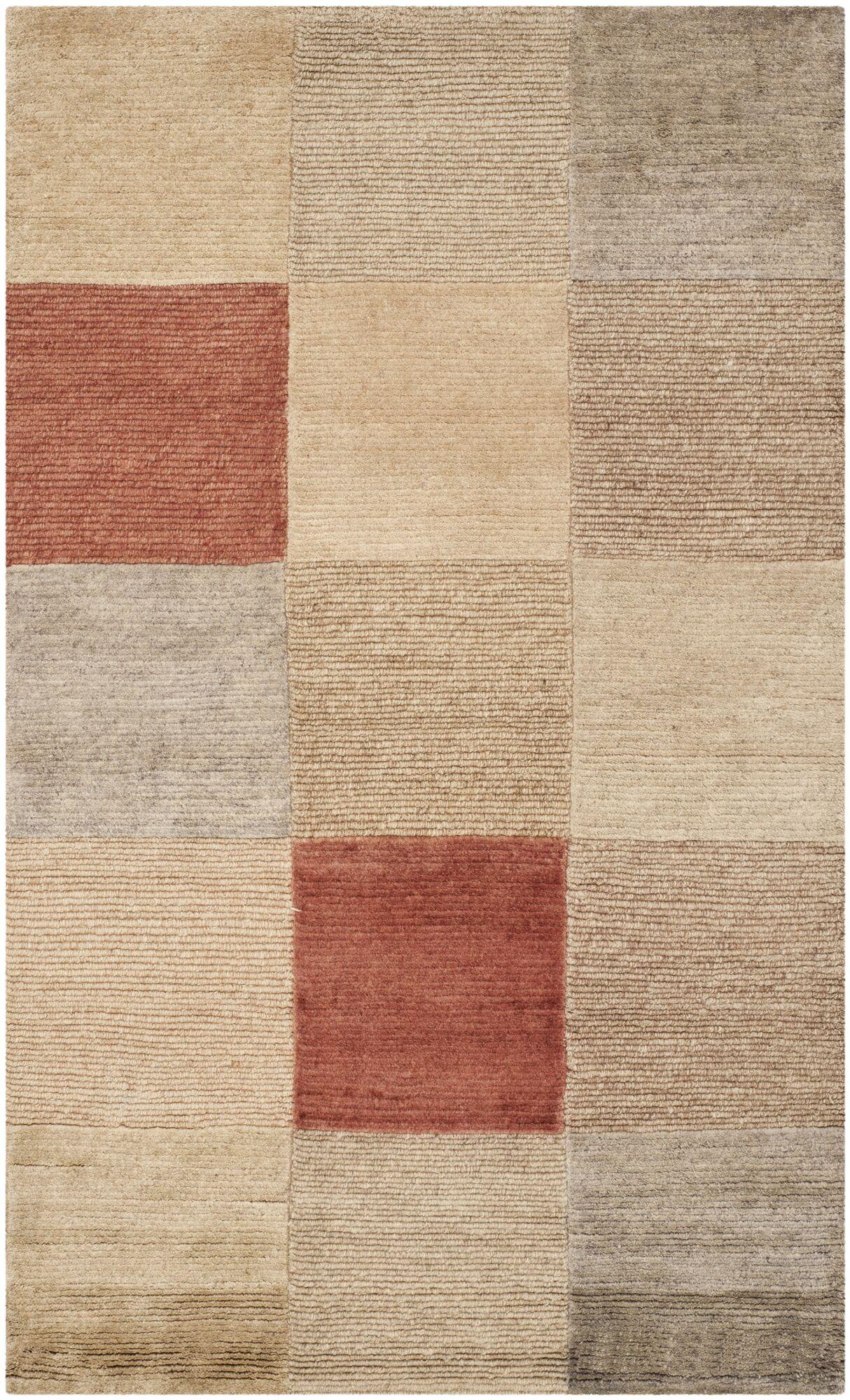 Bernick Tibetan Hand Knotted Beige/Gray Area Rug Rug Size: Rectangle 5' x 7'6