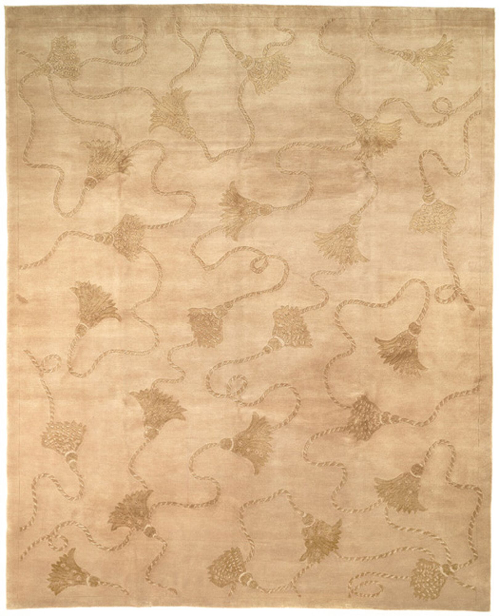 Dilillo Tibetan Hand Knotted Silk/Wool Ivory Area Rug Rug Size: Runner 2'6