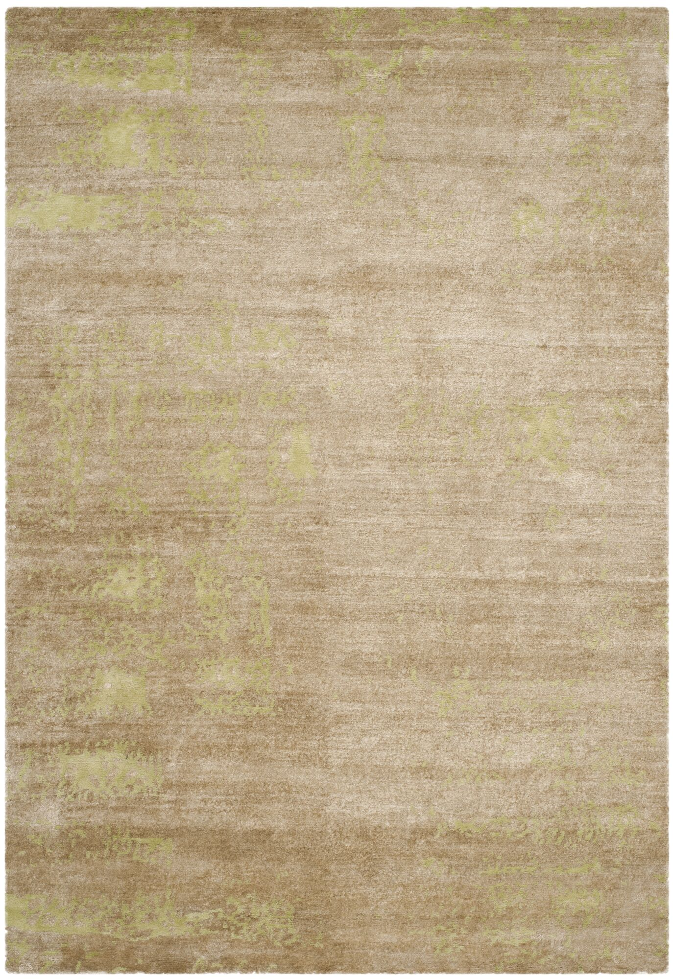 Elrod Tibetan Hand Knotted Green Area Rug Rug Size: Rectangle 6' x 9''