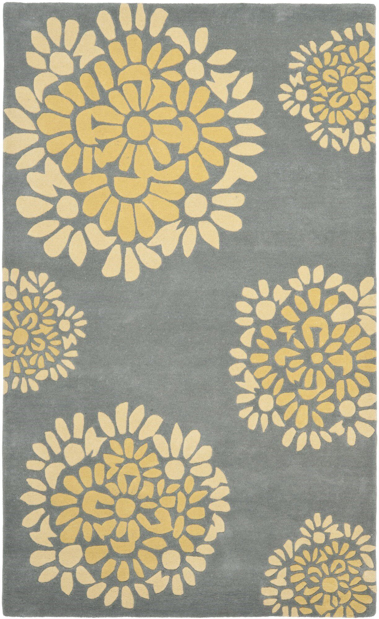 Sunny Petal Mosaic Hand Tufted Wool/Cotton Cement Area Rug Rug Size: Rectangle 5' x 8'