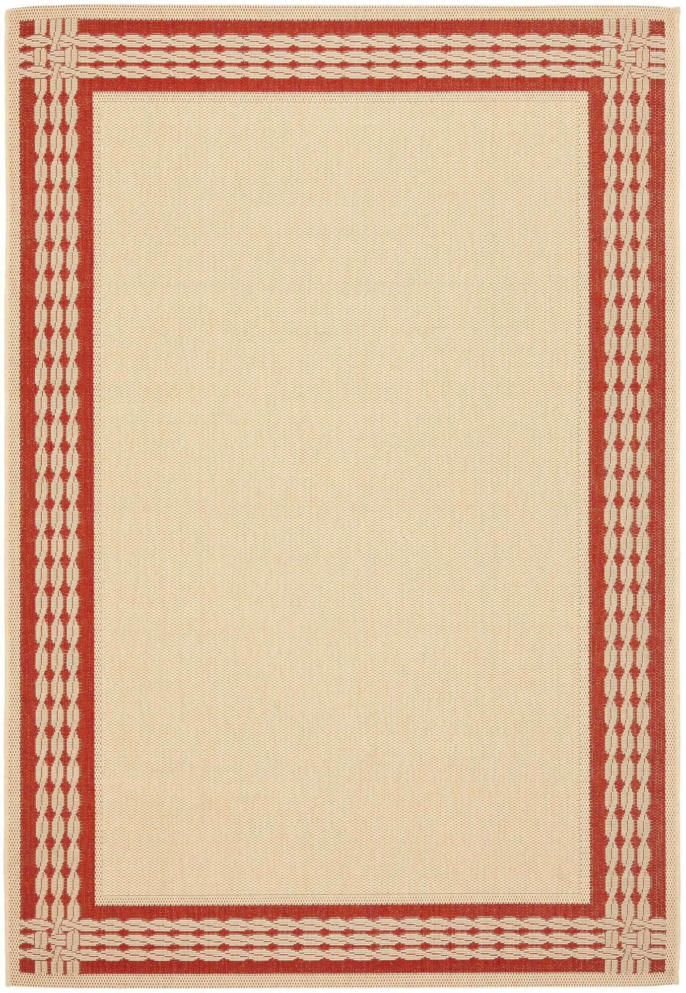 Lakeside Ribbon Natural/Red Area Rug Rug Size: Rectangle 4' x 5'7
