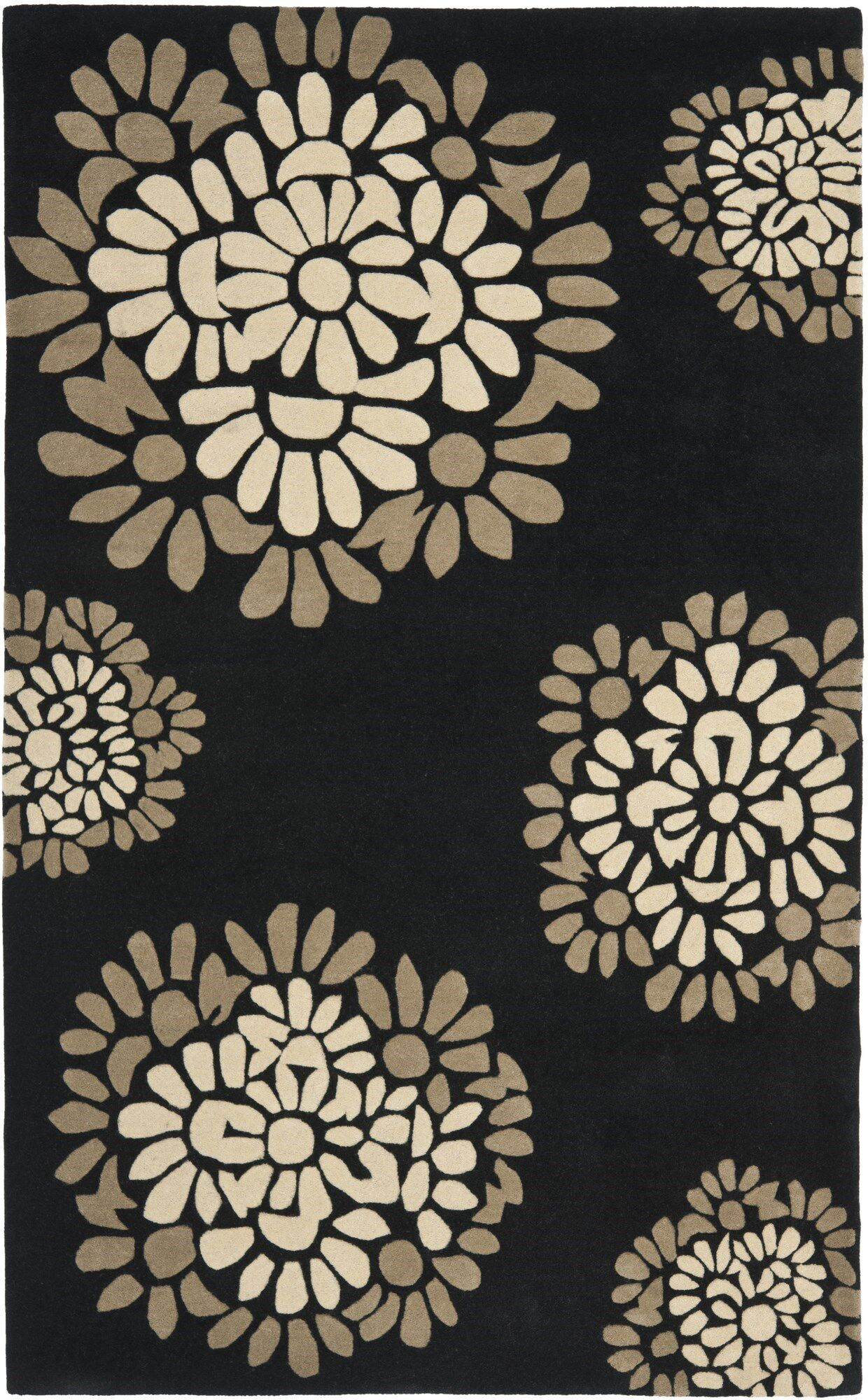 Sunny Petal Mosaic Hand Tufted Wool/Cotton Silhouette Area Rug Rug Size: Rectangle 9'6