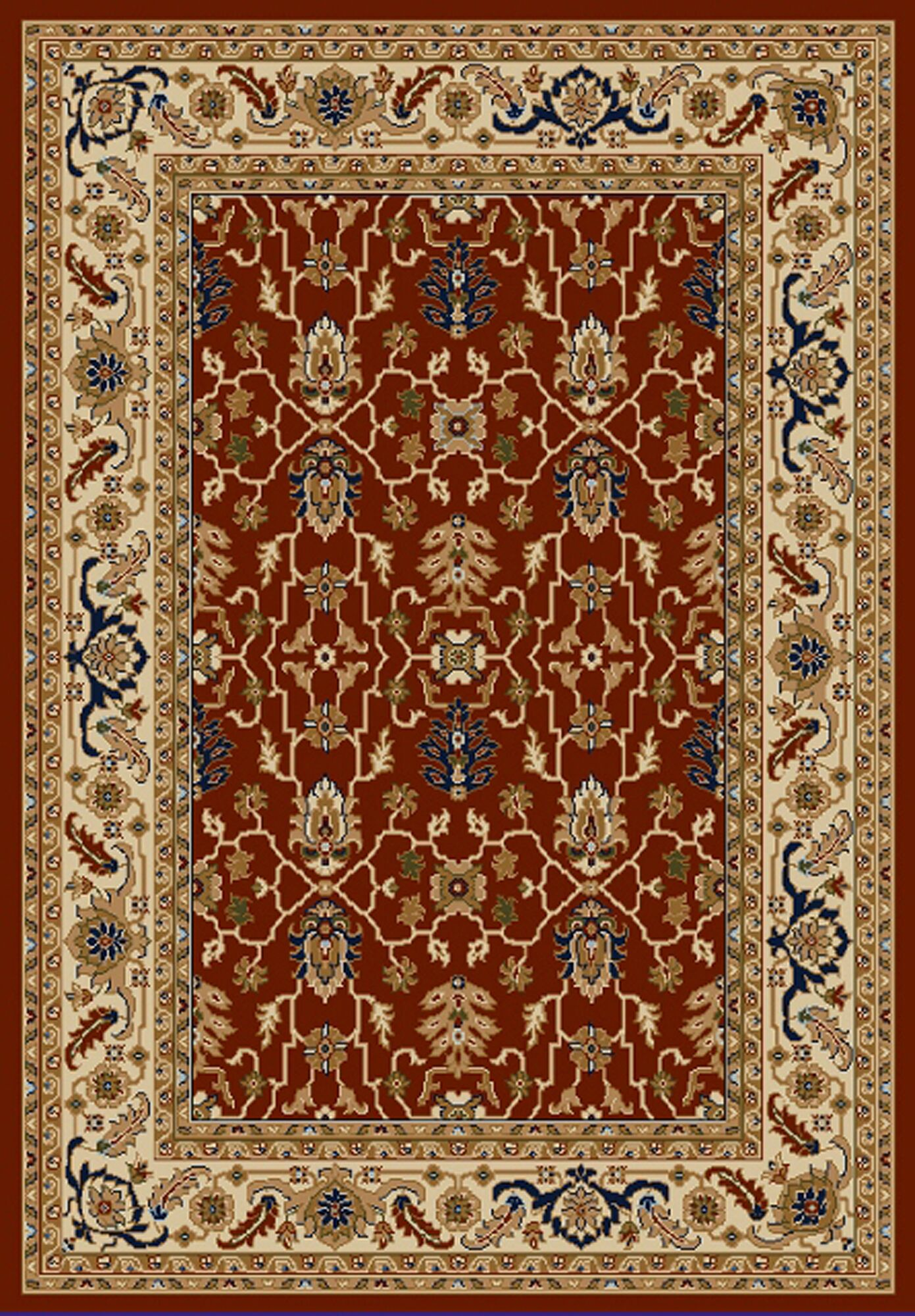 Whickham Red/Cream Area Rug Rug Size: Rectangle 8' x 10'
