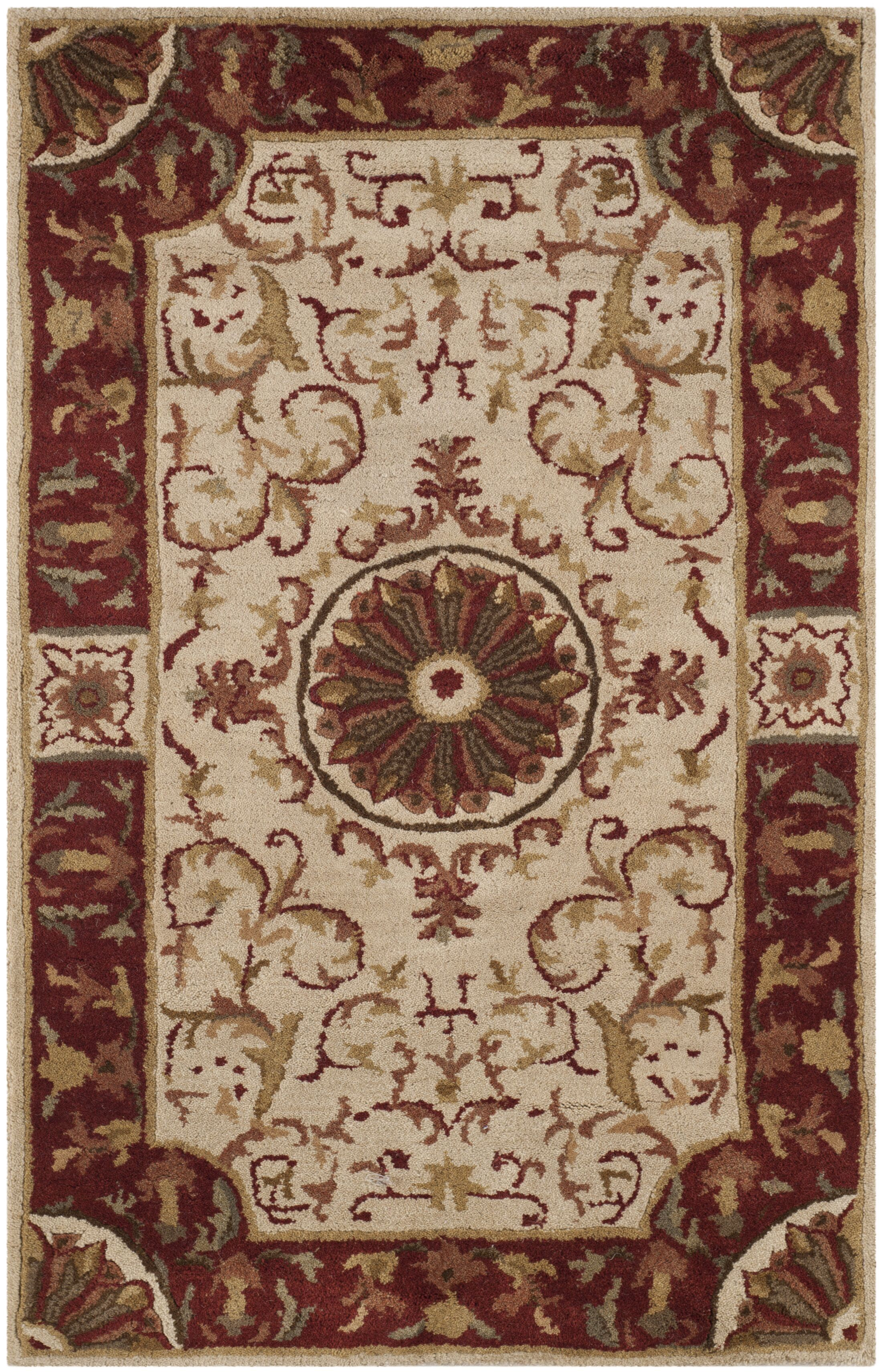 Latarra Hand Tufted Wool Ivory Area Rug Rug Size: Rectangle 2'6