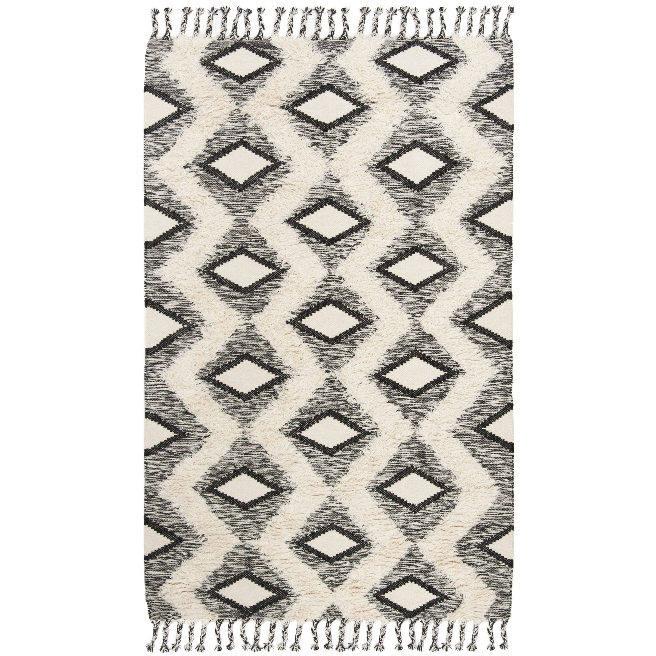 Albertina Hand Knotted Wool Beige/Black Area Rug Rug Size: Rectangle 4' x 6'