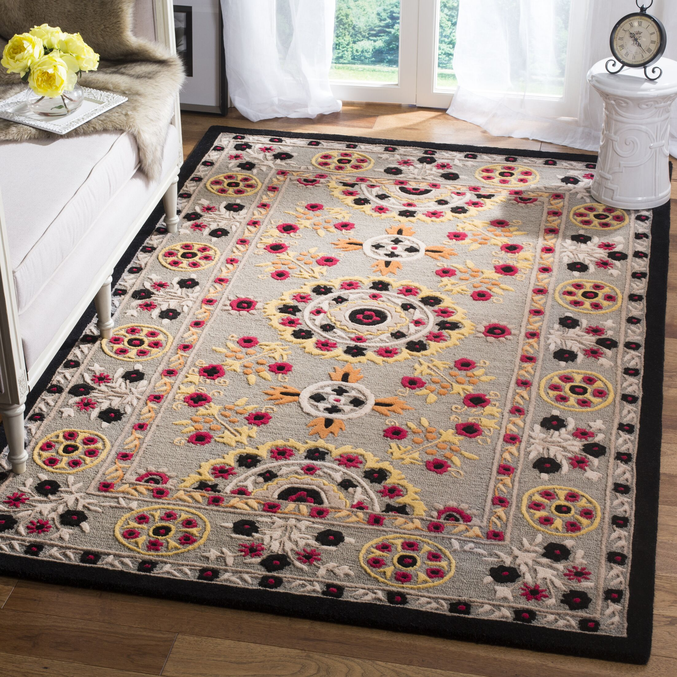 Eatonville Hand Tufted Wool Light Gray Area Rug Rug Size: Square 5'