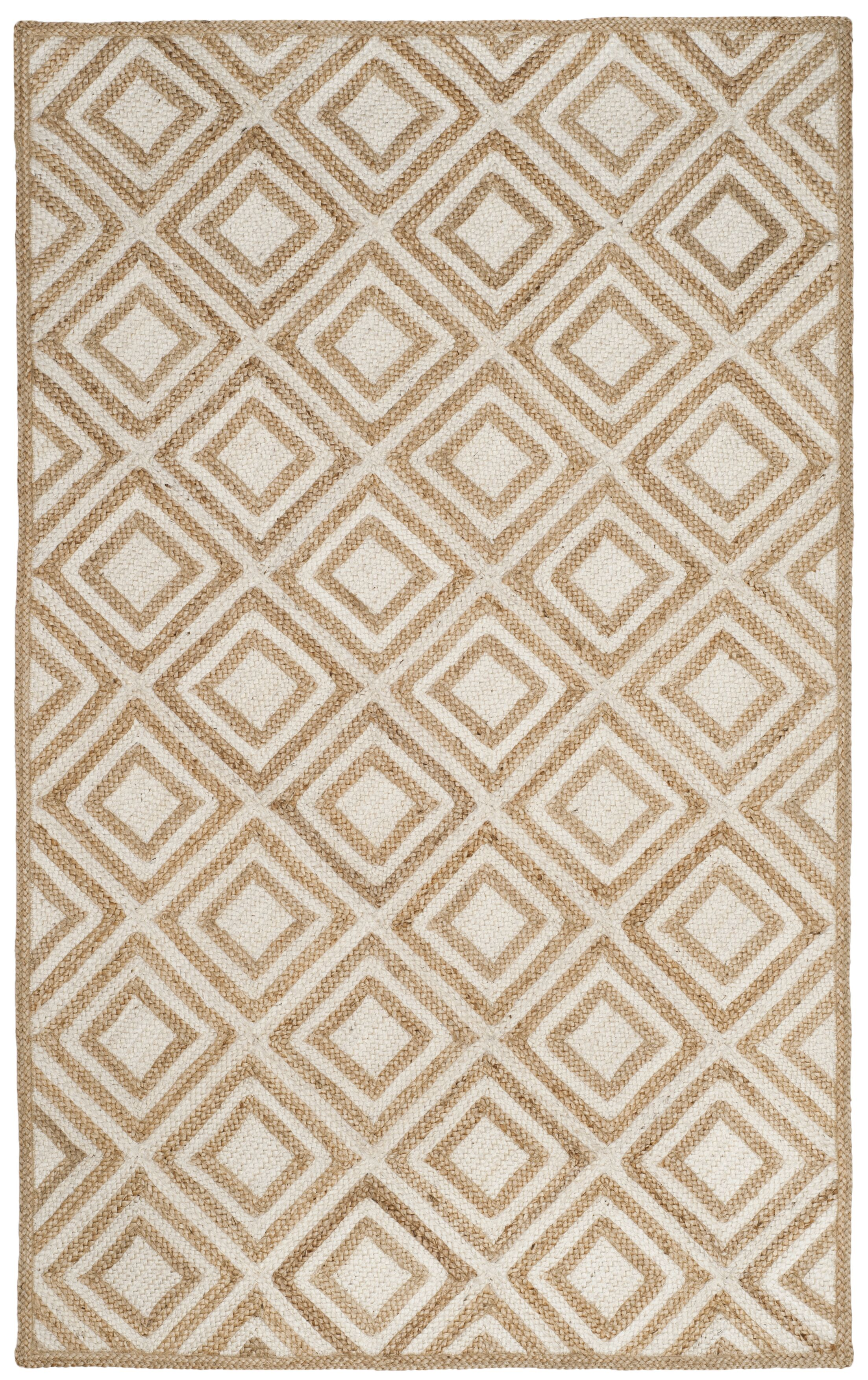 Abhay Contemporary Hand Woven Beige/White Area Rug Rug Size: Rectangle 6' x 9'