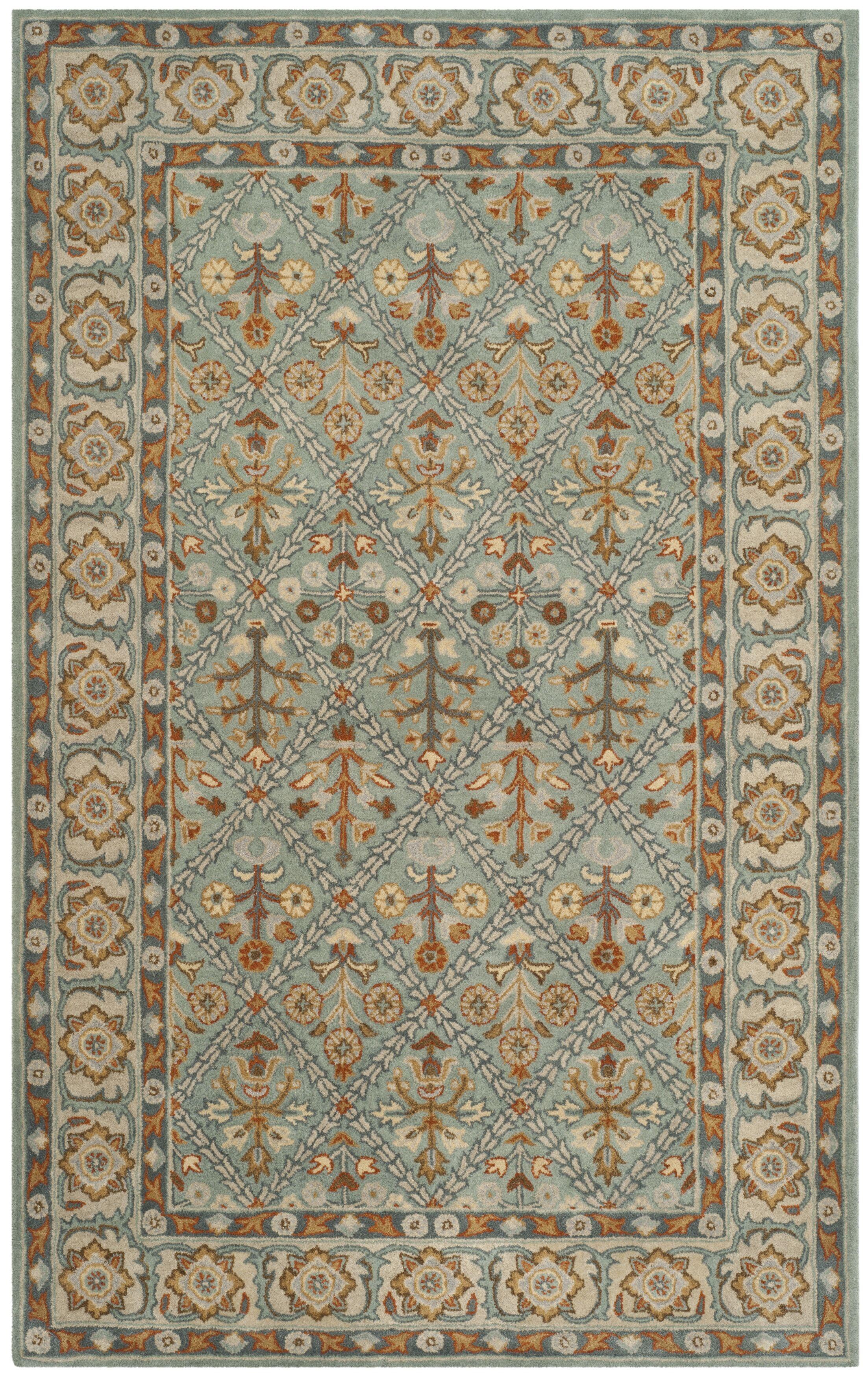 Moss Hand Tufted Wool Blue/Orange Area Rug Rug Size: Rectangle 5' x 8'