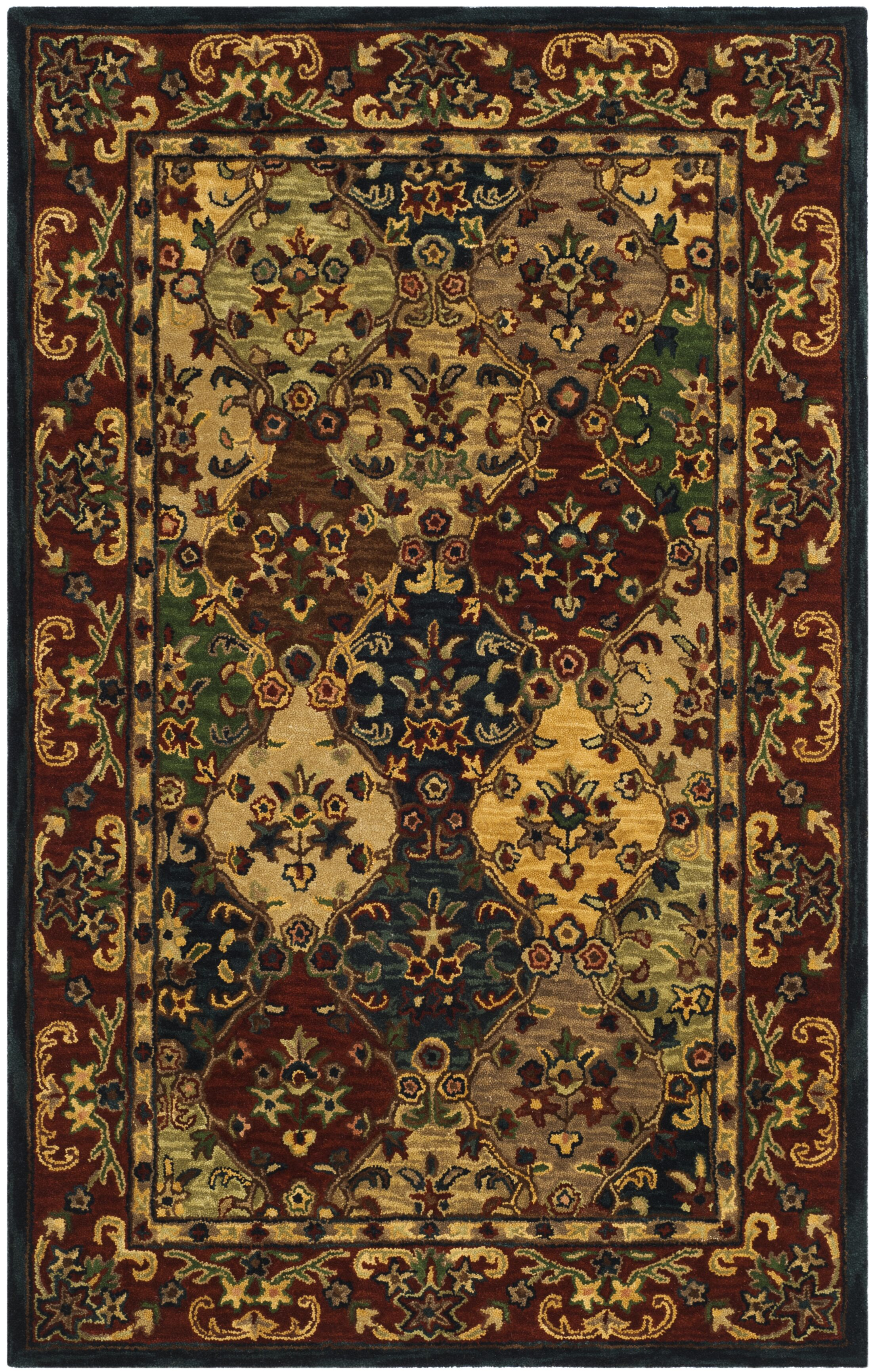 Moss Hand Tufted Wool Red/Yellow Area Rug Rug Size: Rectangle 5' x 8'
