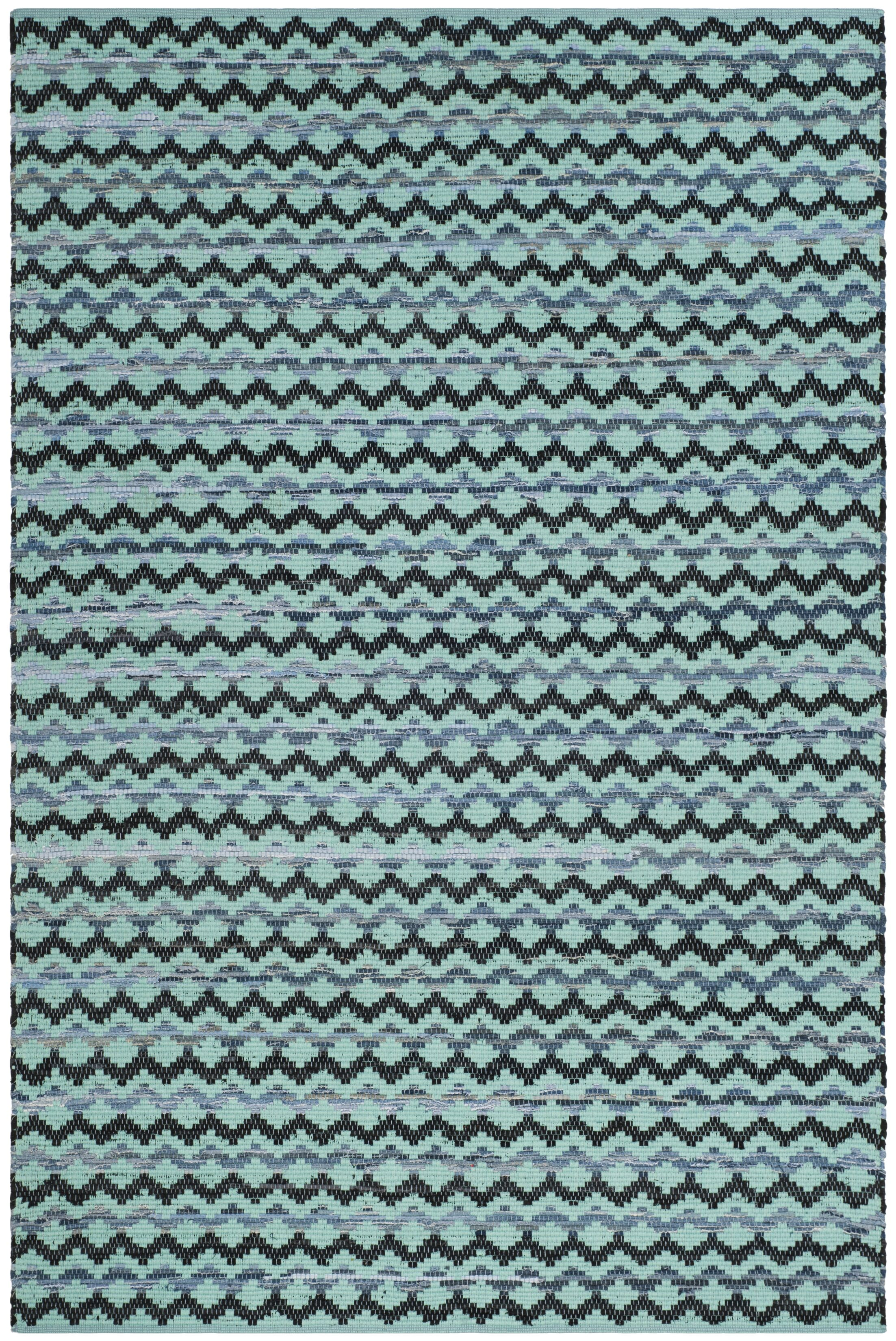 One-of-a-Kind Zoltán Hand-Woven Cotton Turquoise Area Rug Rug Size: Square 6'