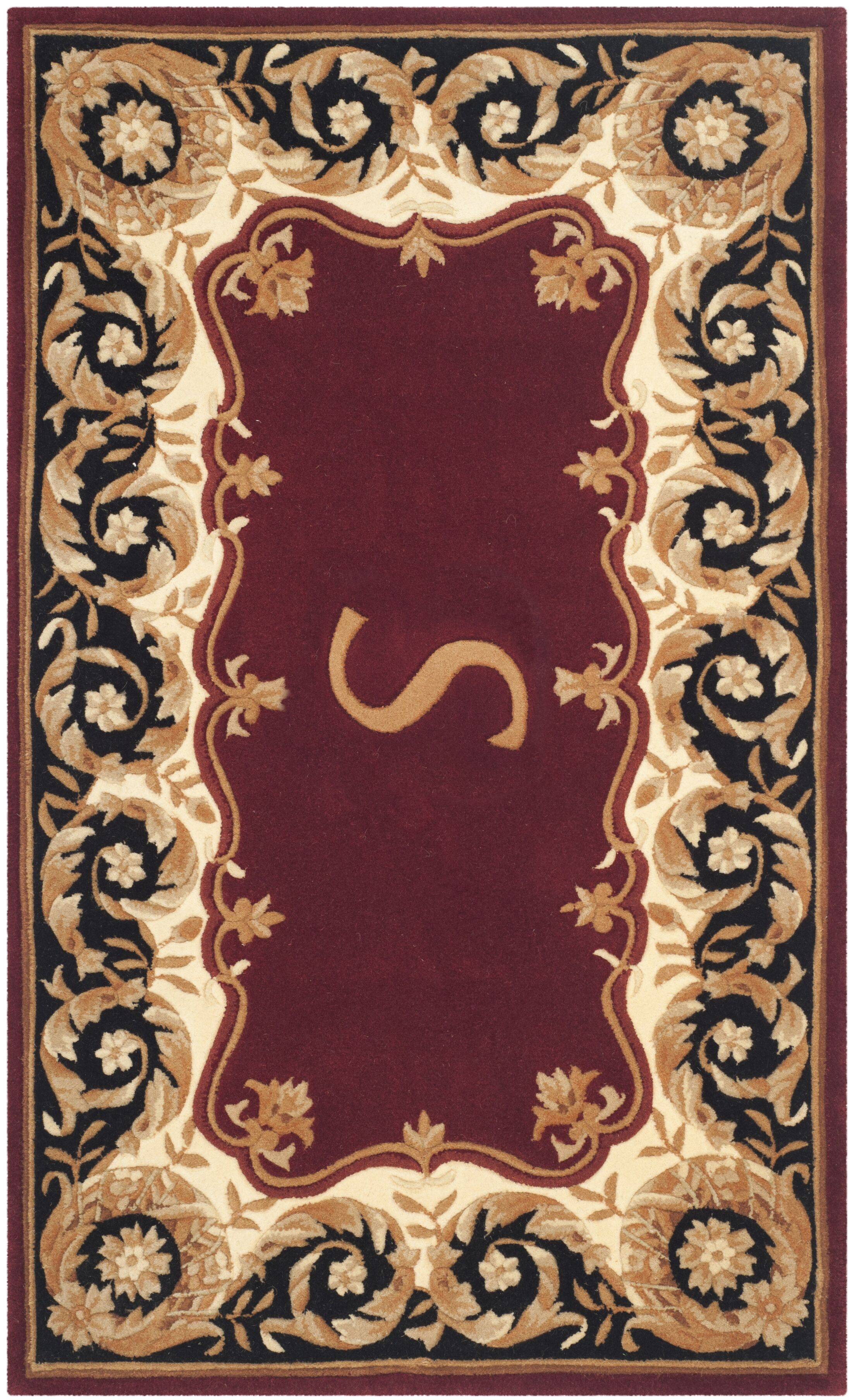 Lenora Hand Tufted Wool Maroon Area Rug  Rug Size: Rectangle 3' x 5', Letter: J