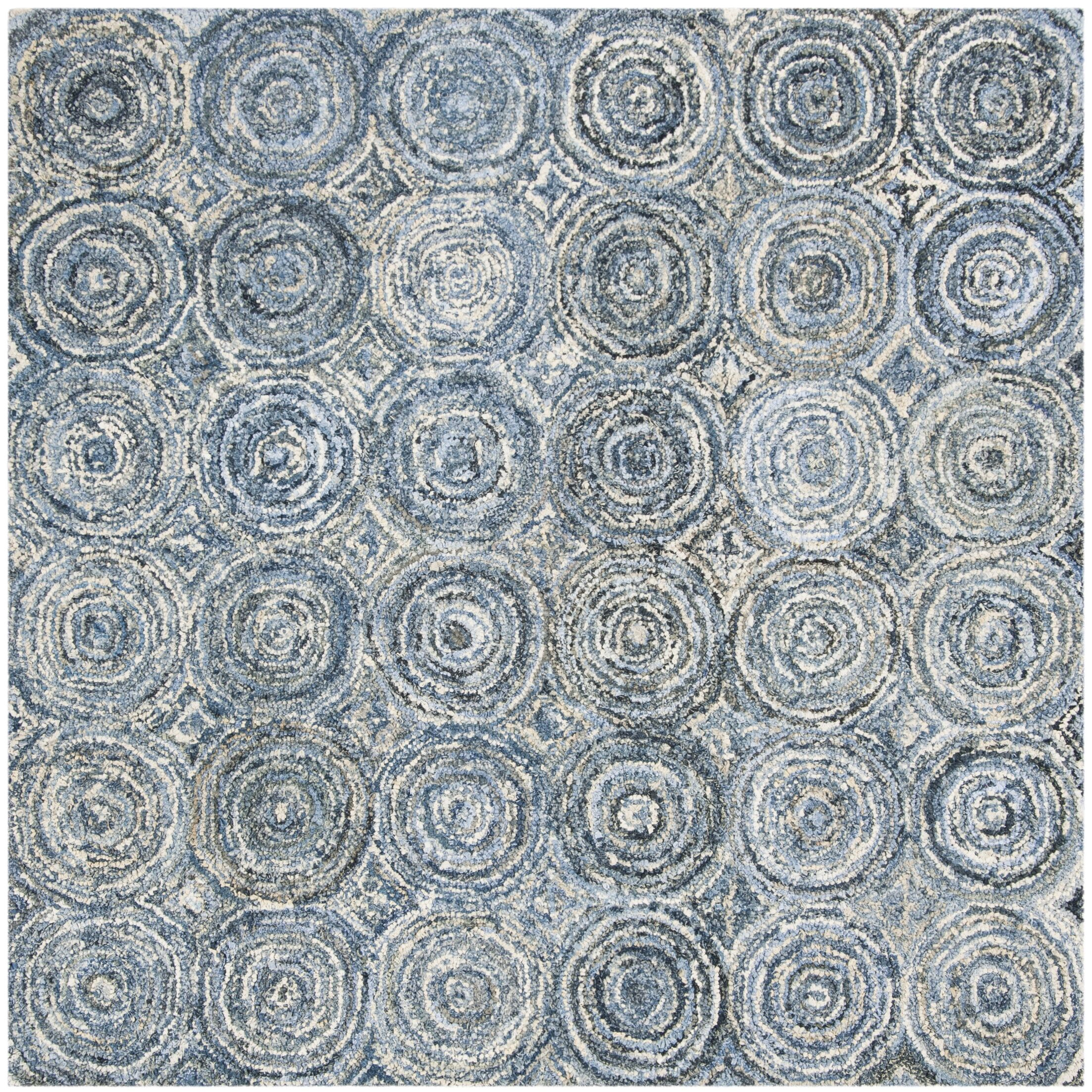 Philip Hand Tufted Cotton Blue Area Rug Rug Size: Square 6'