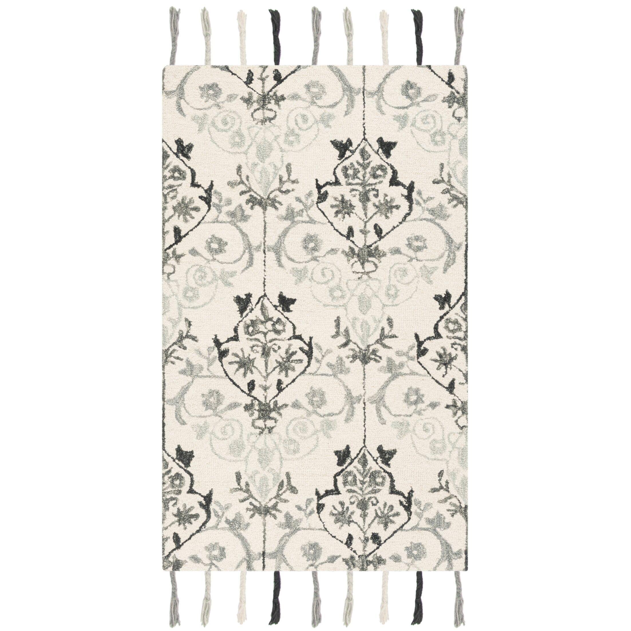 Niederanven Hand Tufted Wool Ivory/Gray Ikat Area Rug Rug Size: Runner 2'3