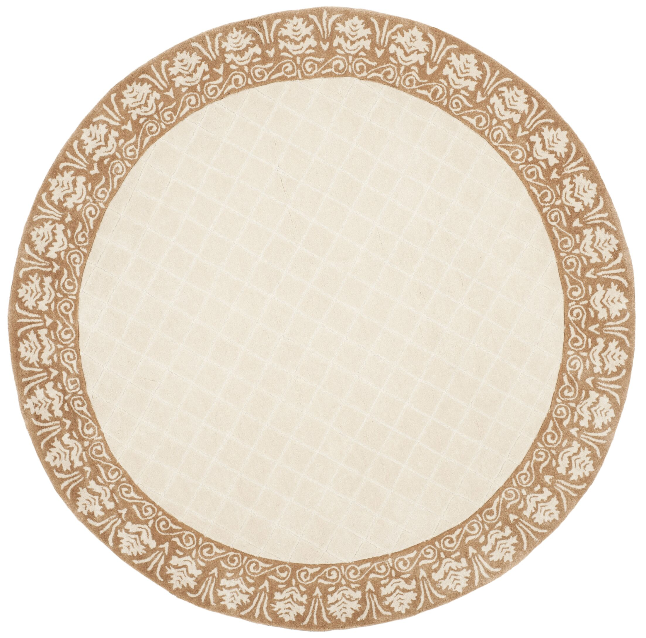 Caine Hand Tufted Ivory Area Rug Rug Size: Round 6'