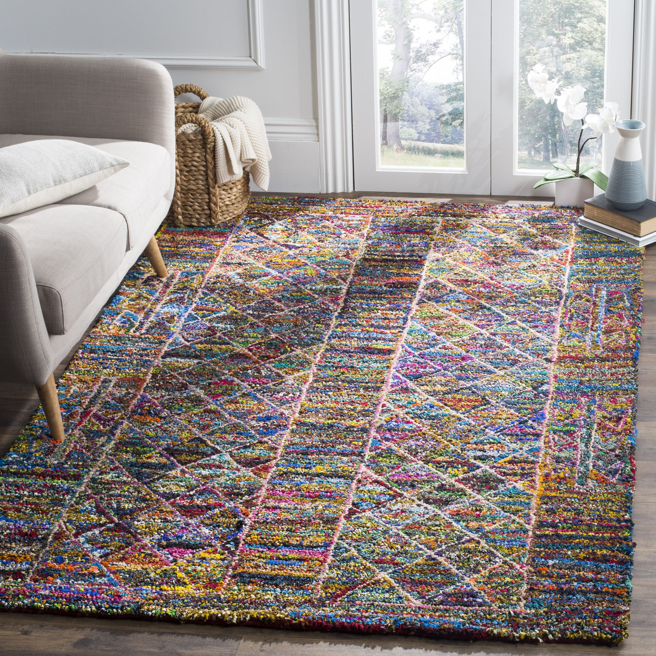 Mueller Hand Tufted Cotton Blue/Pink/Yellow Geometric Area Rug Rug Size: Rectangle 5' x 8'