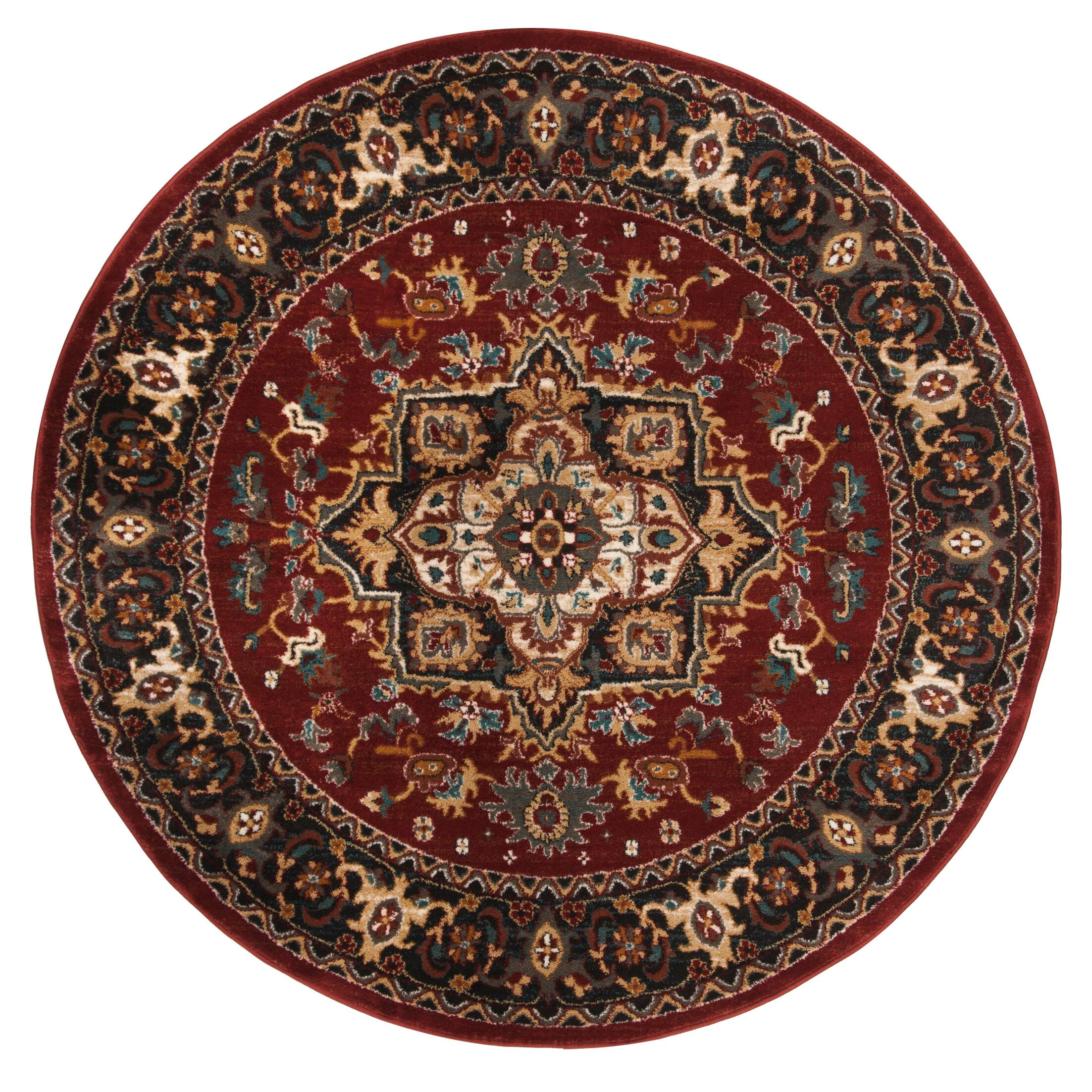 Lowe Red/Beige Area Rug Rug Size: Round 6'7