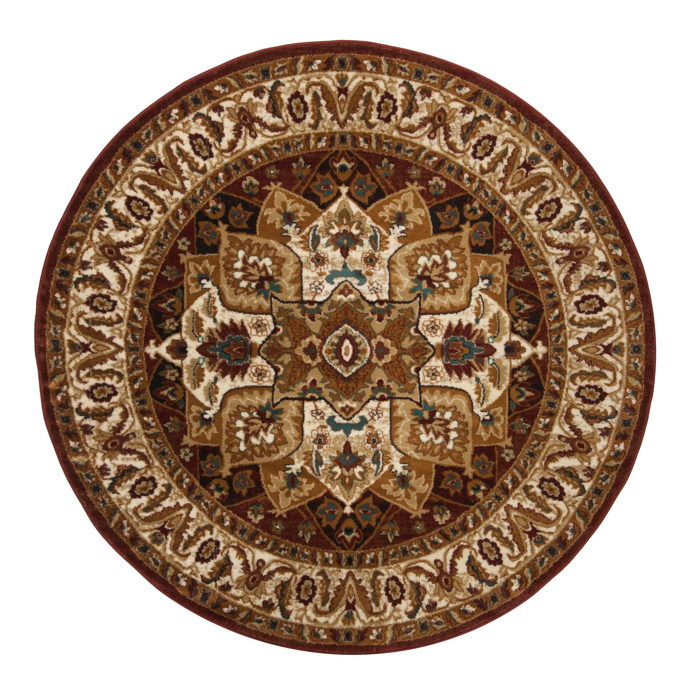 Lowe Red/Ivory Area Rug Rug Size: Round 6'7