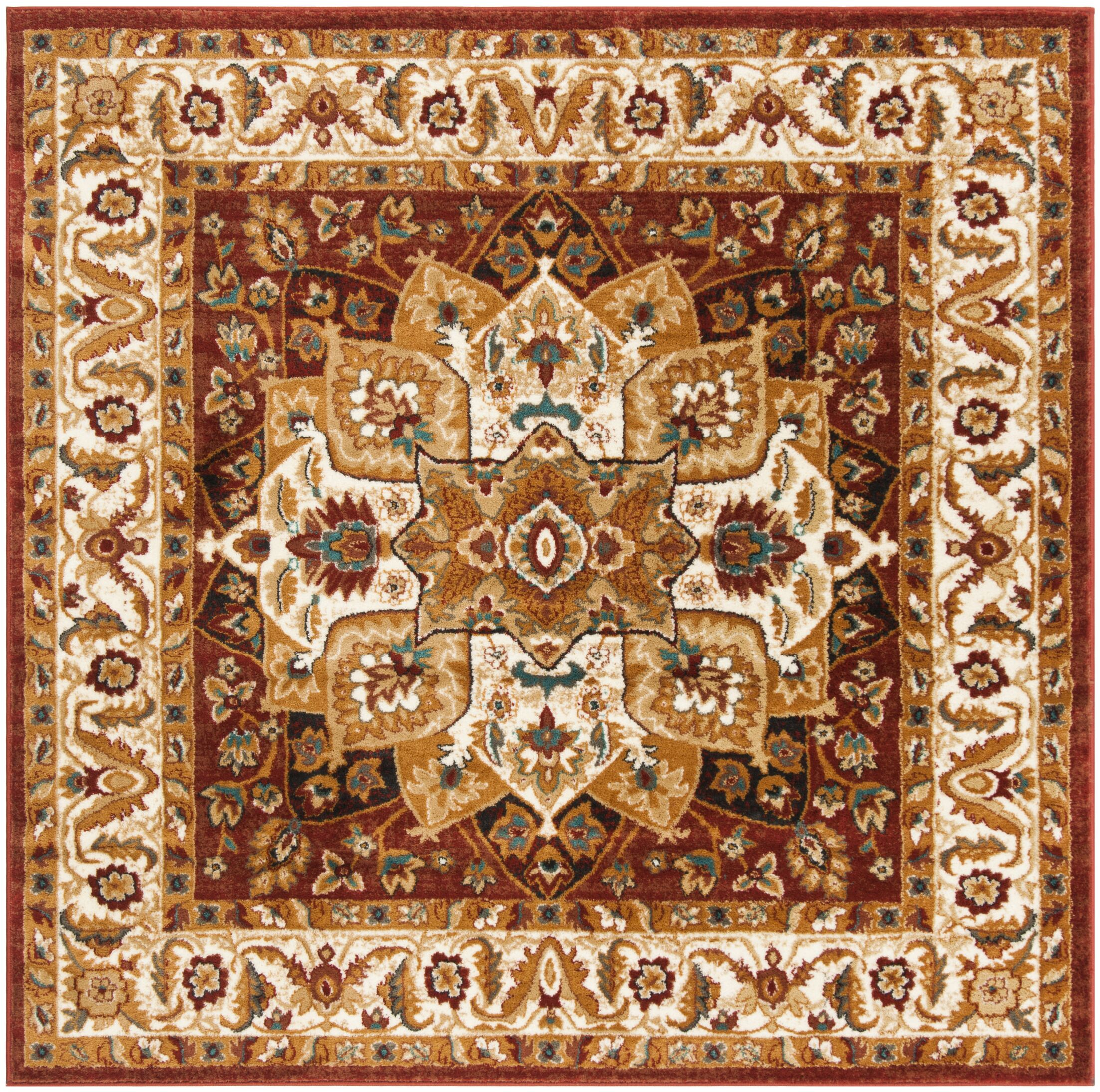 Lowe Red/Ivory Area Rug Rug Size: Square 6'7