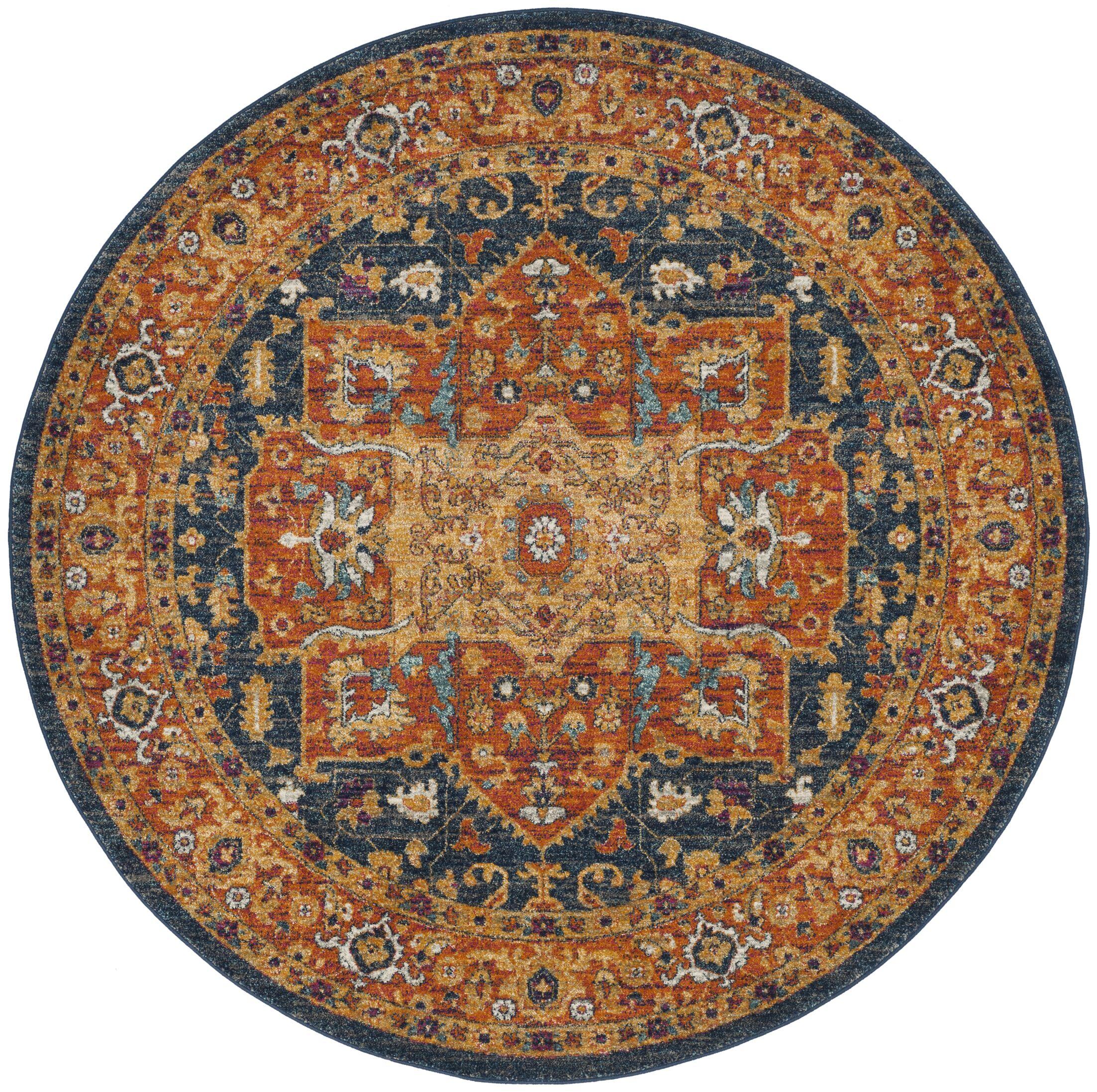 Battista Blue/Orange Area Rug Rug Size: Round 5'1
