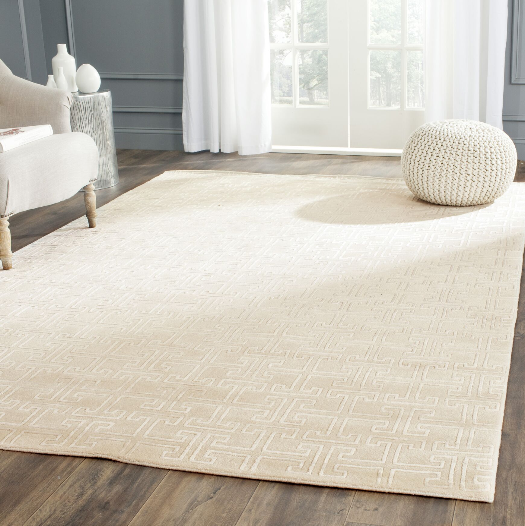 Fogg Tibetan Hand Knotted Ivory/White Area Rug Rug Size: Rectangle 10' x 14'