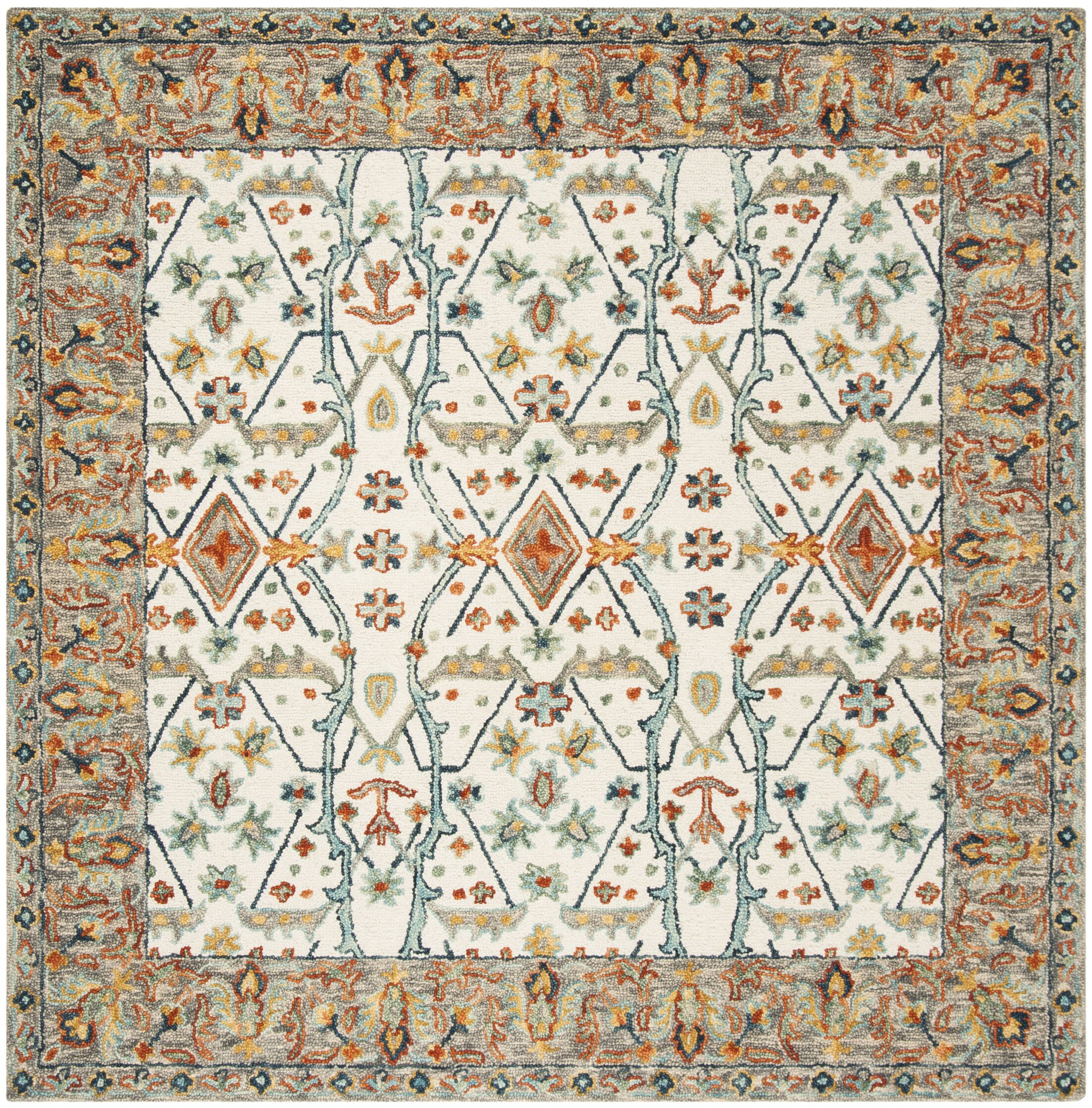 Garvin Hand-Tufted Wool Ivory/Blue Area Rug Rug Size: Square 7'