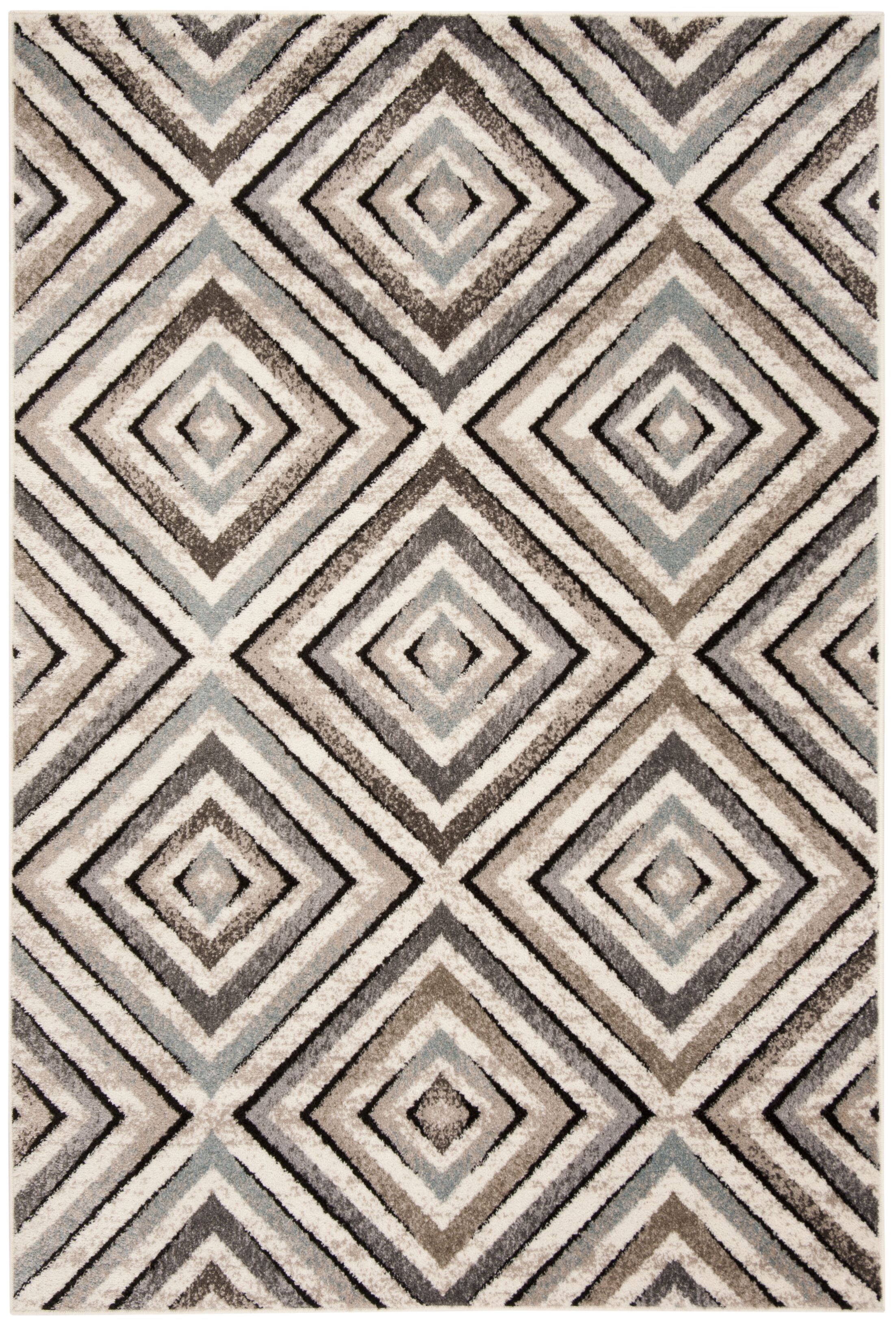 Alioth Cream/Beige Geometric Area Rug Rug Size: Rectangle 8' x 10'