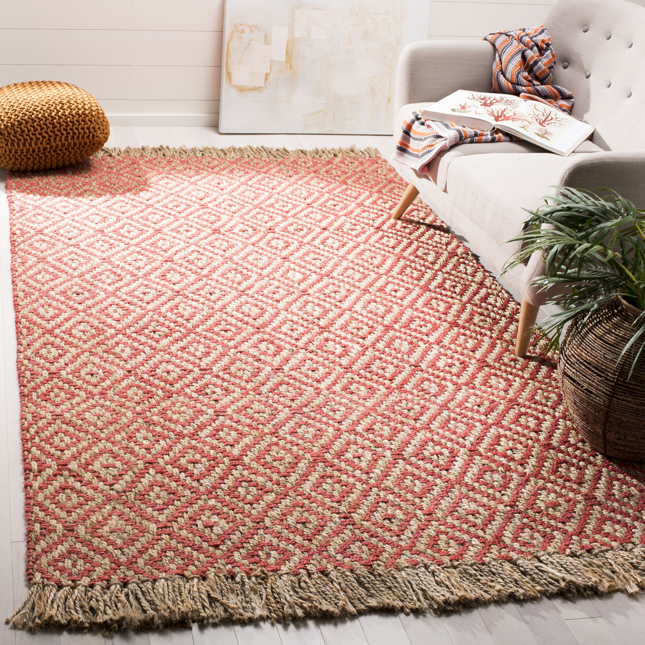 Lana Hand Woven Fuchsia Area Rug Rug Size: Rectangle 4' x 6'