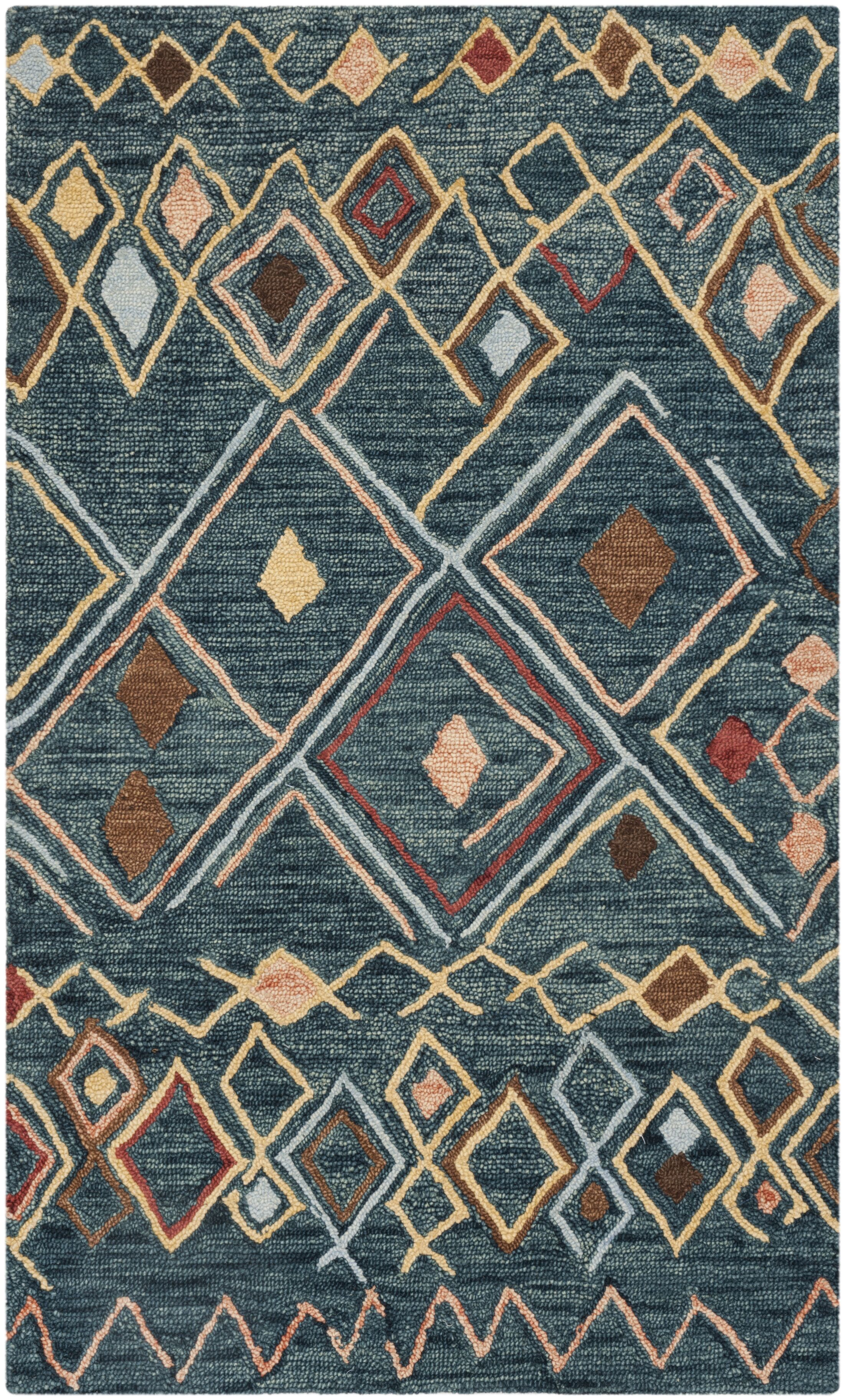 Talmo Hand Hooked Wool Dark Blue/Yellow Area Rug Rug Size: Rectangle 5' x 8'