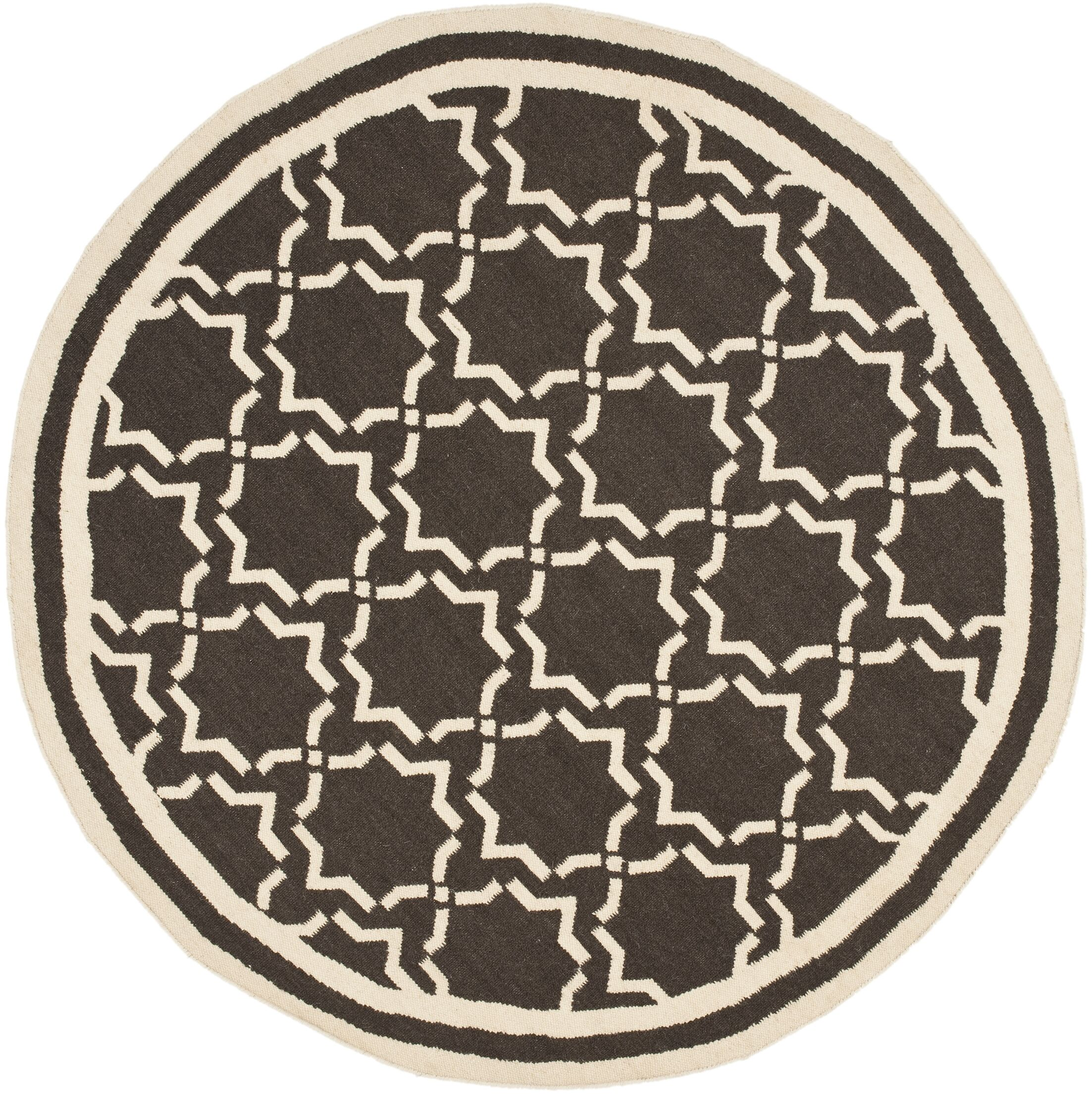 Dhurrie Chocolate Area Rug Rug Size: Round 6'