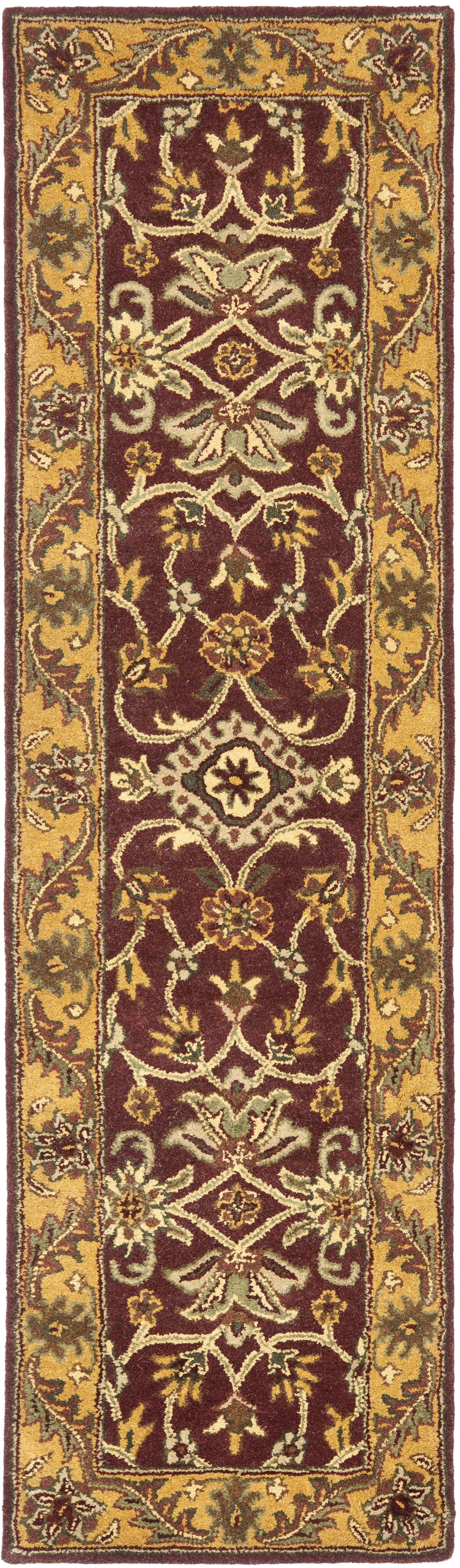 Golden Jaipur Burgundy/Gold Area Rug Rug Size: Runner 2'3