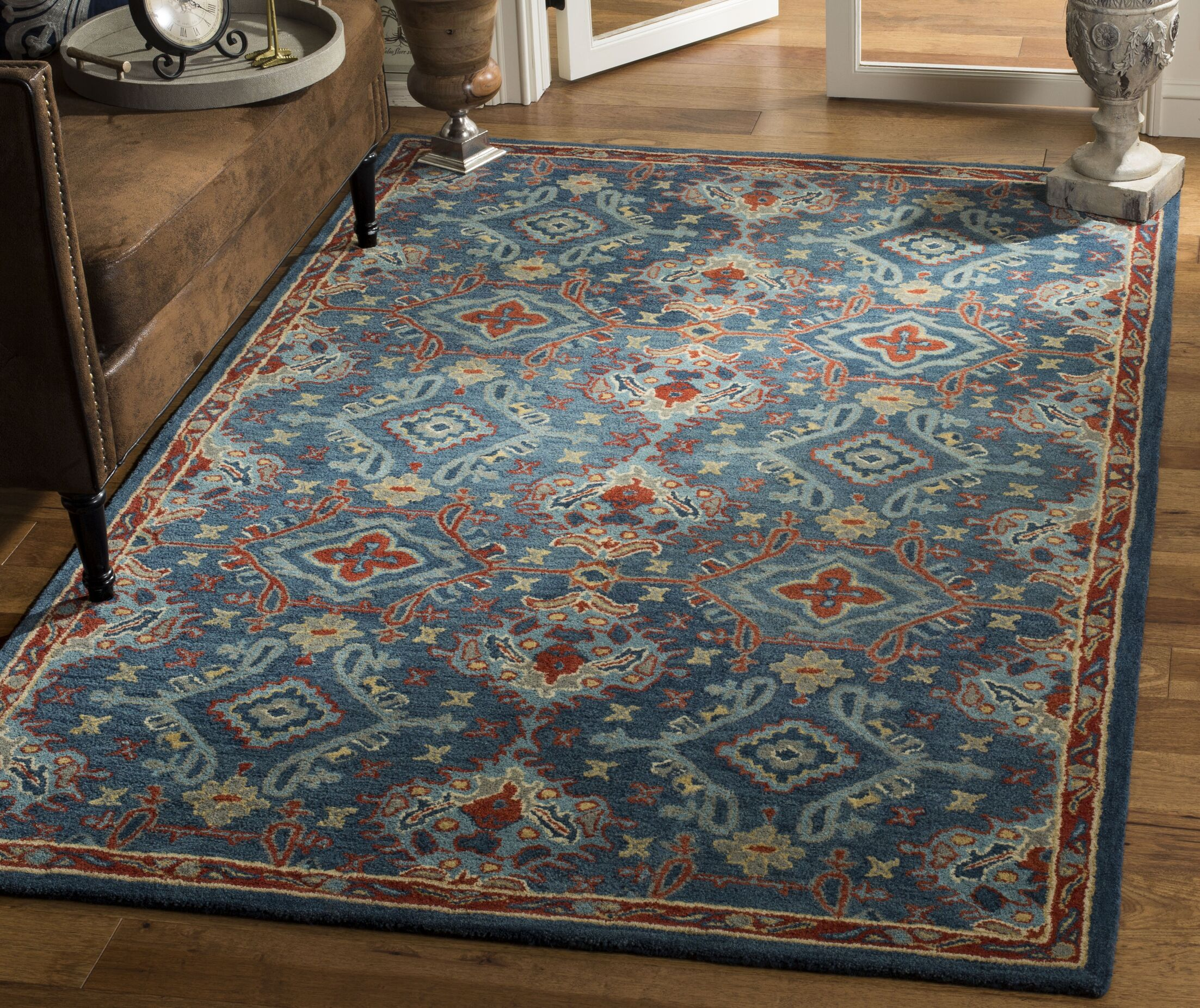 Albrightsville Hand Woven Wool Blue Area Rug Rug Size: Rectangle 8' x 10'