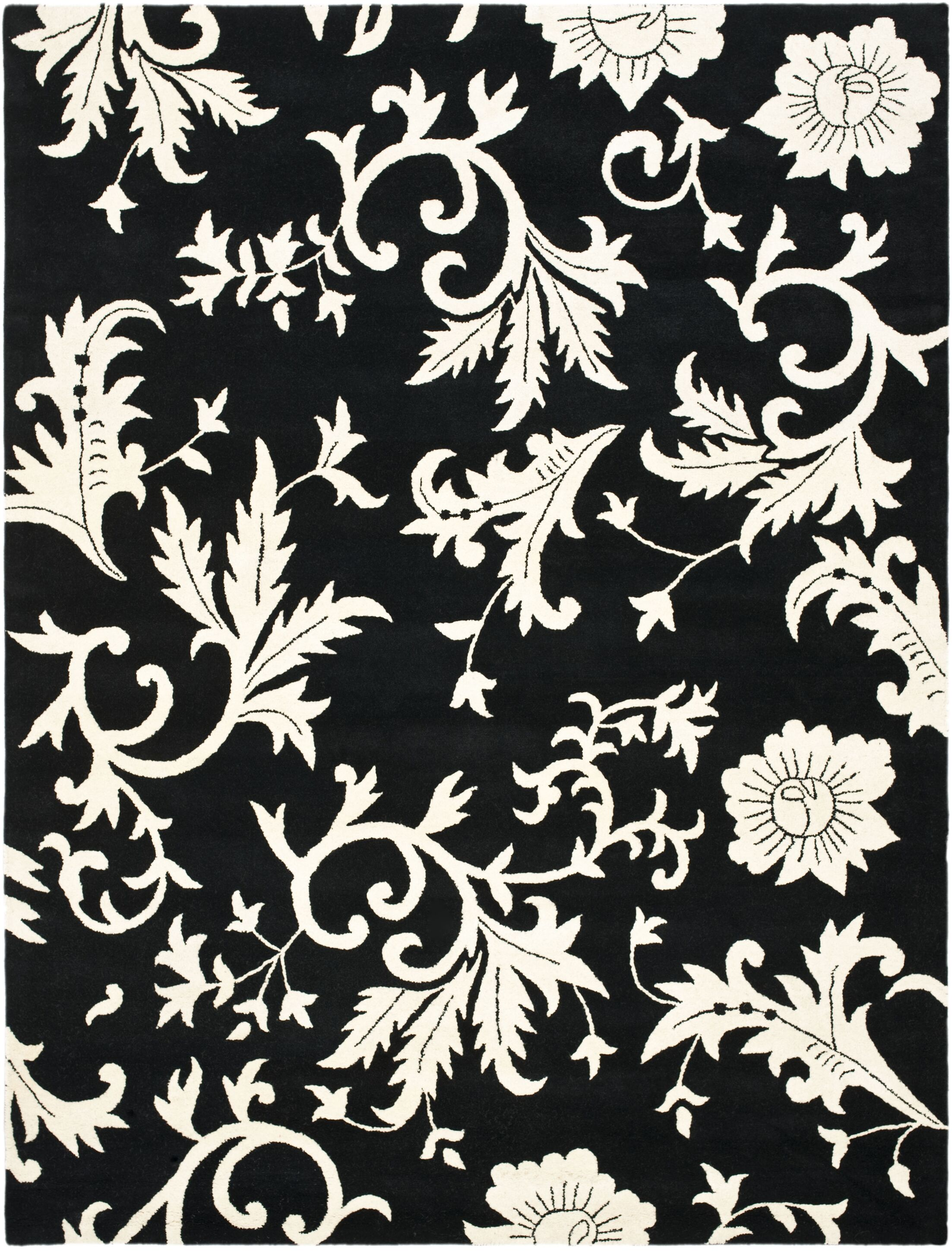 Sanders Black/Ivory Floral Area Rug Rug Size: Rectangle 5' x 8'