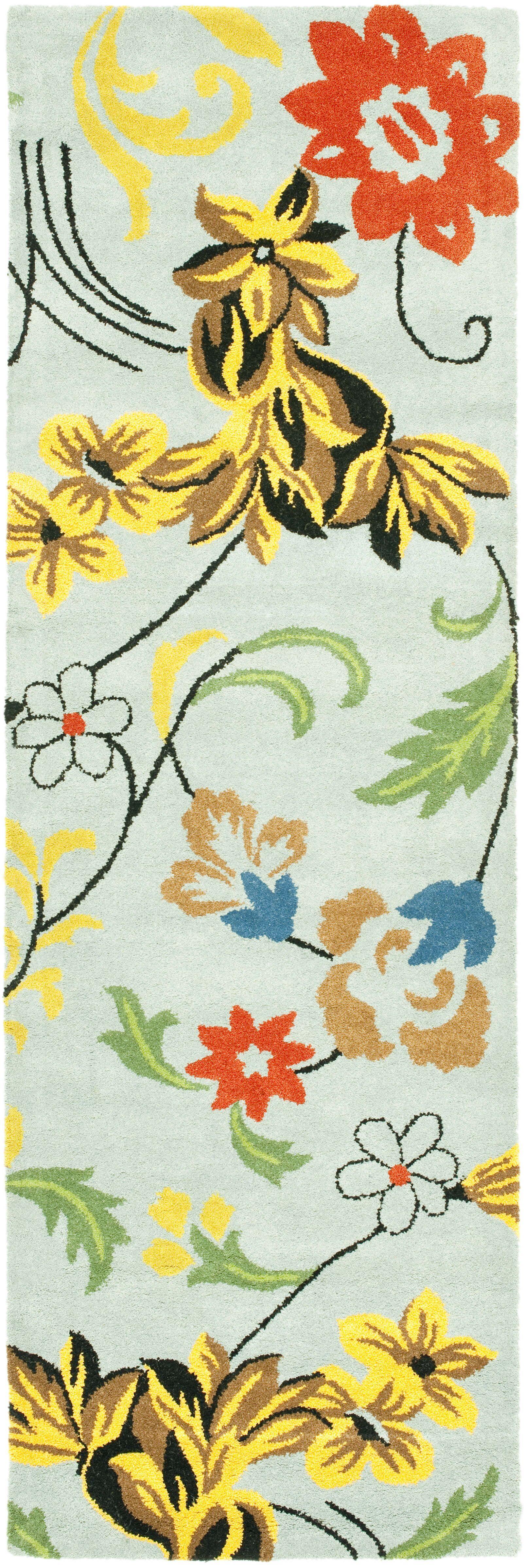 Eldridge Blue Floral Area Rug Rug Size: Runner 2'6