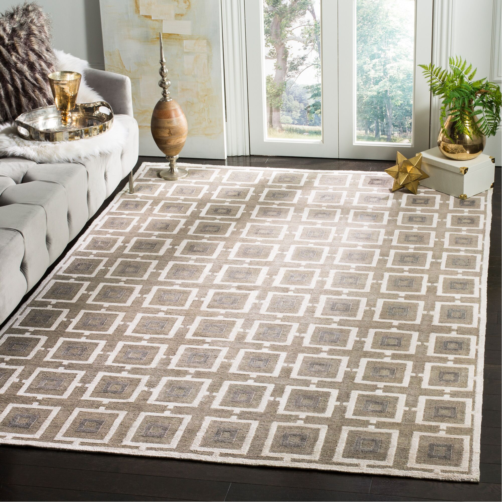 Paramkusham Tibetan Hand Knotted Gray/Beige Area Rug Rug Size: Rectangle 8' x 10'
