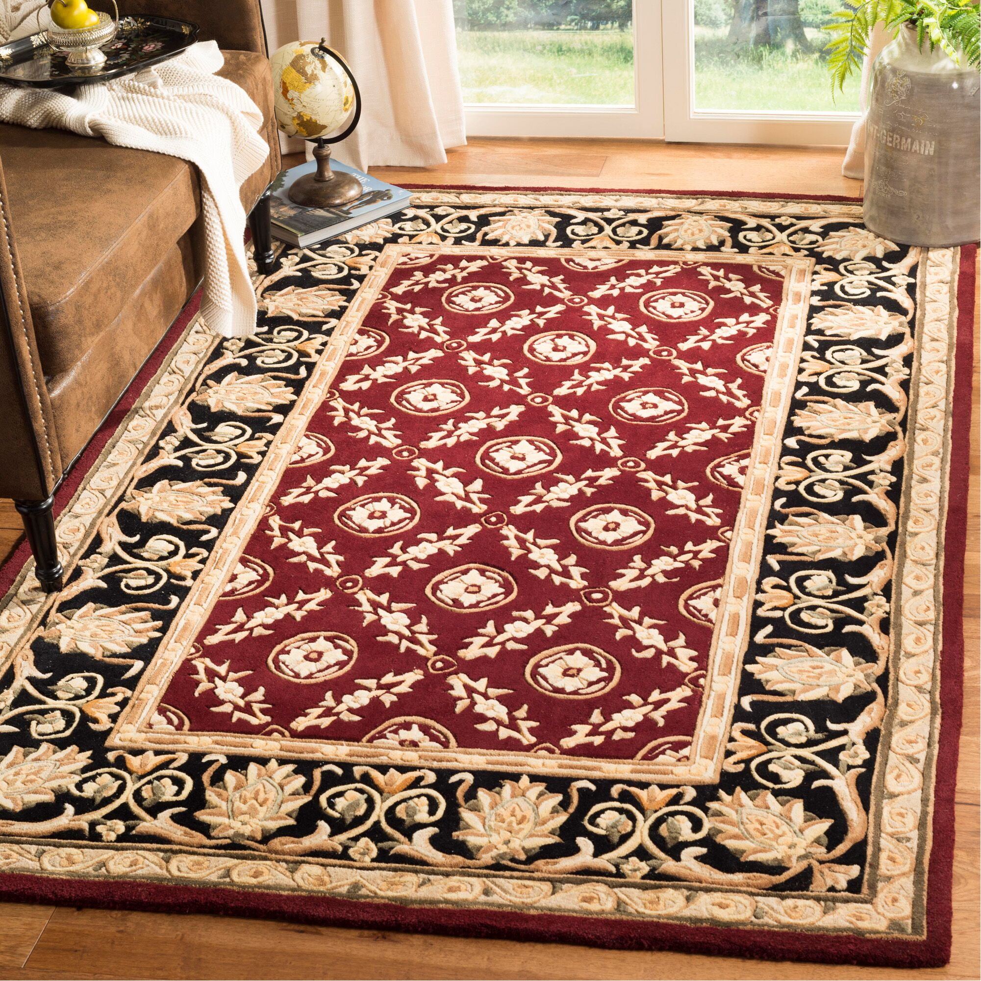 Naples Hand-Tufted Wool Burgundy/Black Area Rug Rug Size: Rectangle 5' x 8'