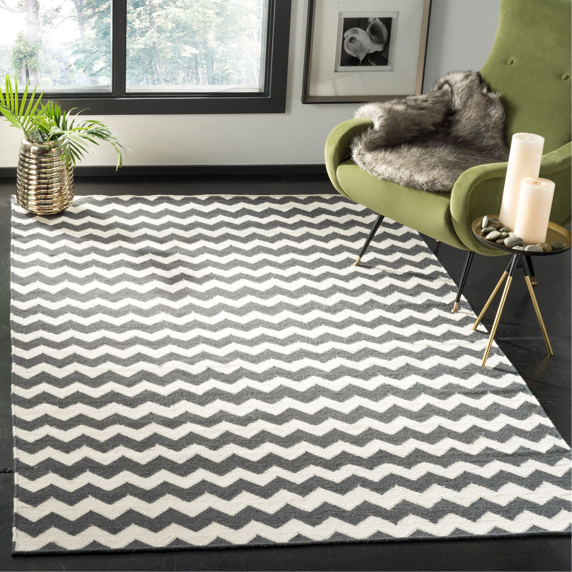 Dhurries Ivory/Charcoal Area Rug Rug Size: Rectangle 5' x 8'