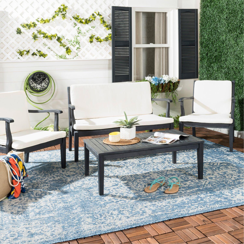 Fresno 4 Piece Sofa Set with Cushions Color: Dark Slate Gray