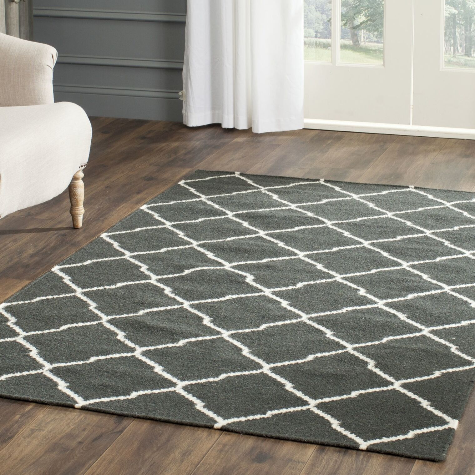Dhurries Hand-Woven Wool Gray/Ivory Area Rug Rug Size: Rectangle 4' x 6'