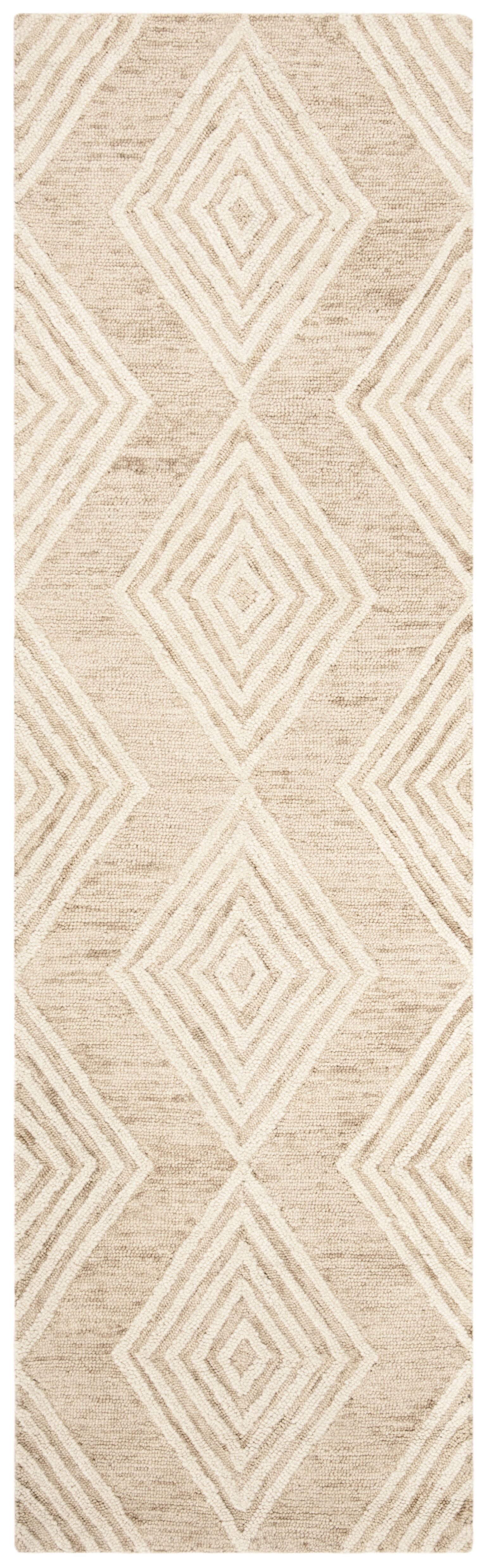 Pizano Hand-Woven Wool Beige/Ivory Area Rug Rug Size: Runner 2'3