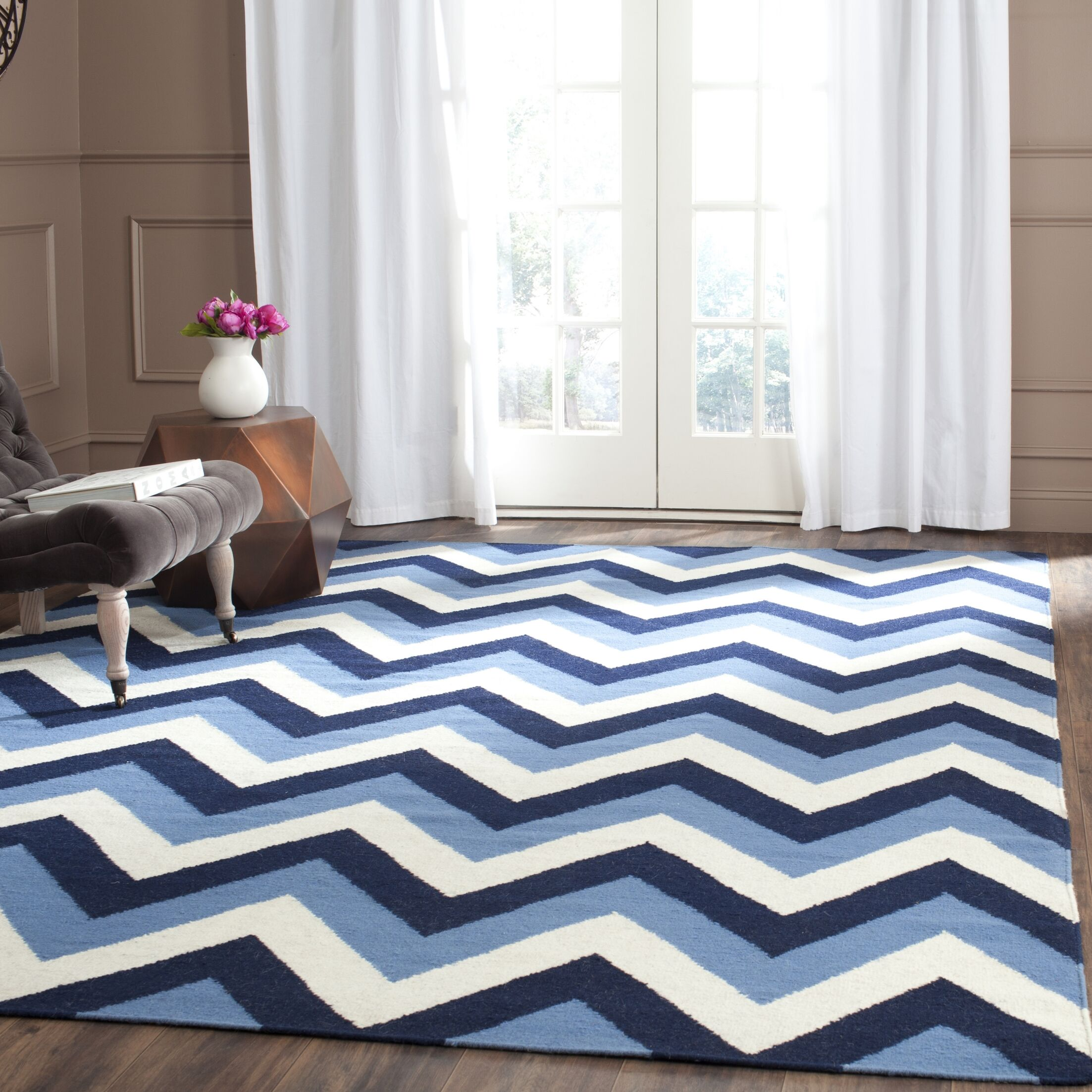 Dhurries Hand-Woven Navy/Light Blue Area Rug Rug Size: Rectangle 3' x 5'