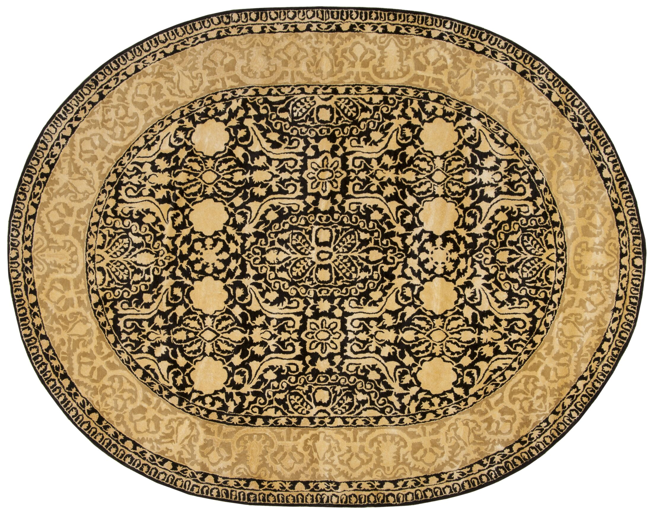Silk Road Black/Ivory Area Rug Rug Size: Oval 7'6