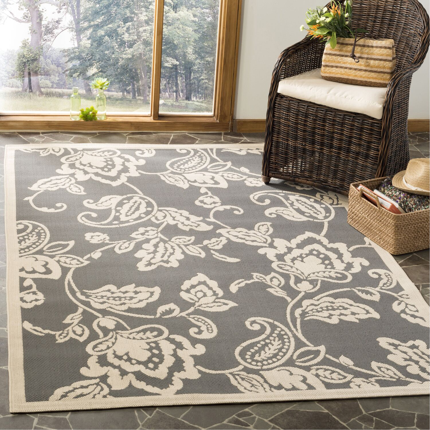 Highland Lily Anthracite/Beige Area Rug Rug Size: Rectangle 5'3