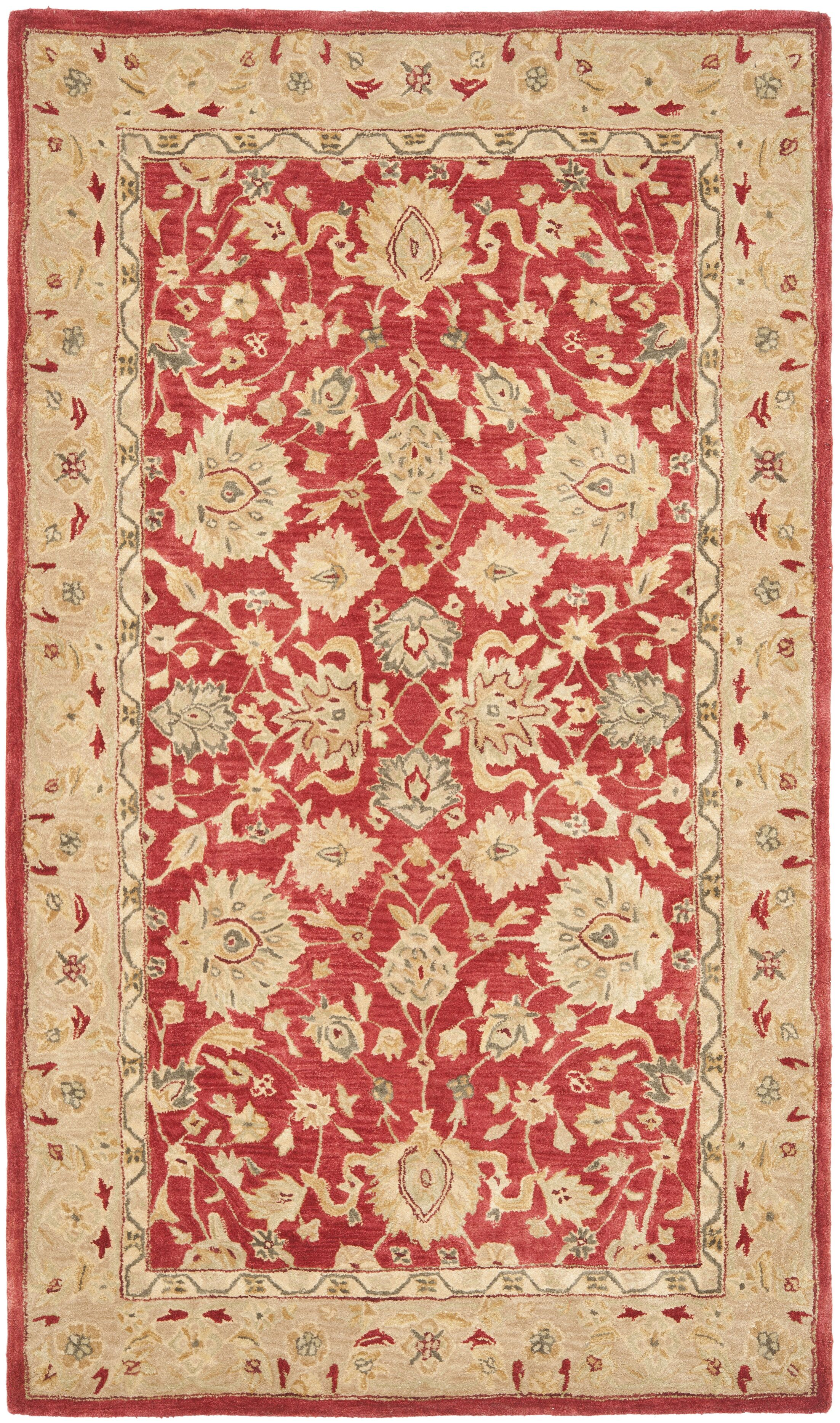 Pritchard Hand-Tufted/Hand-Hooked  Red/Ivory Area Rug Rug Size: Rectangle 6' x 9'