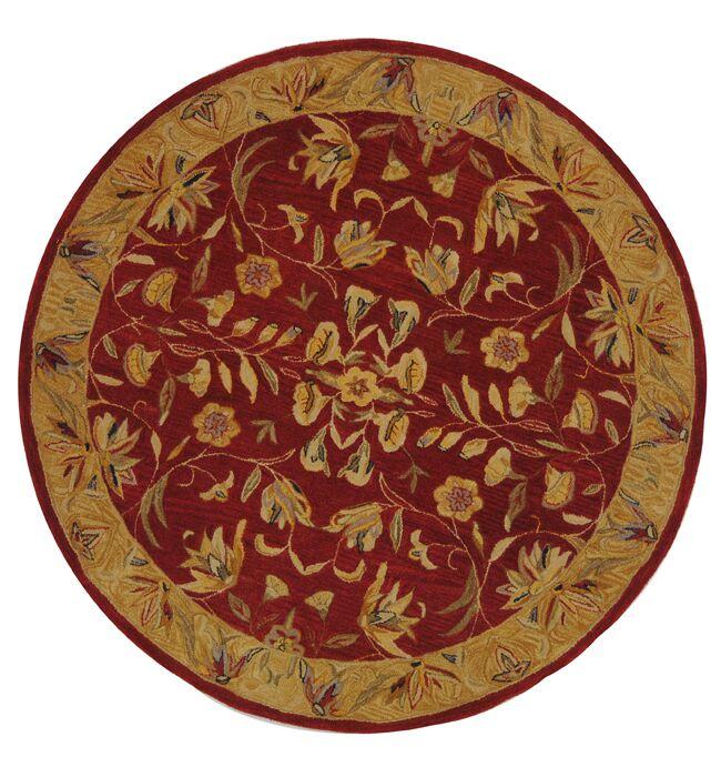 Anatolia Burgundy/Gold Area Rug Rug Size: Round 6'