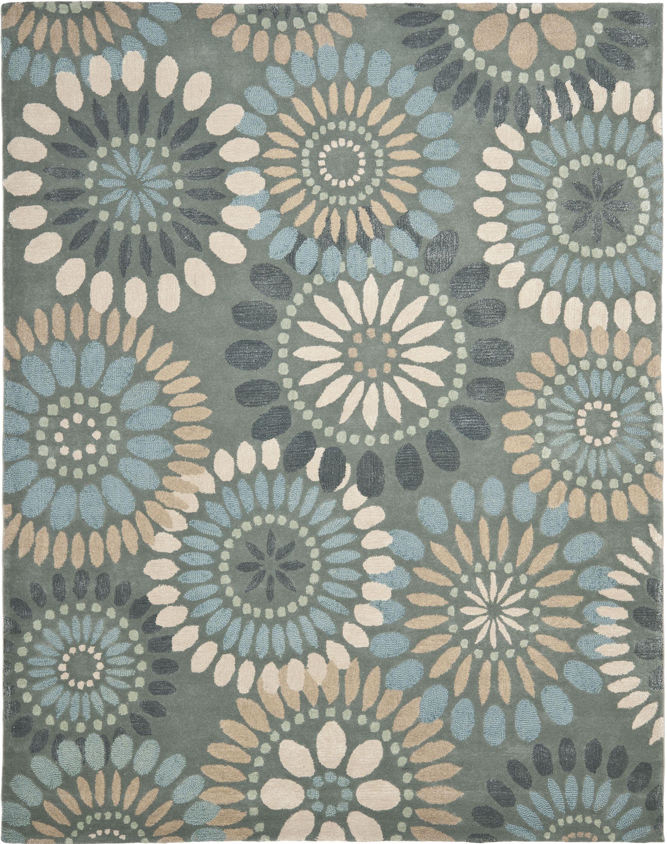 Jardin Grey & Blue Floral Area Rug Rug Size: 8' x 10'