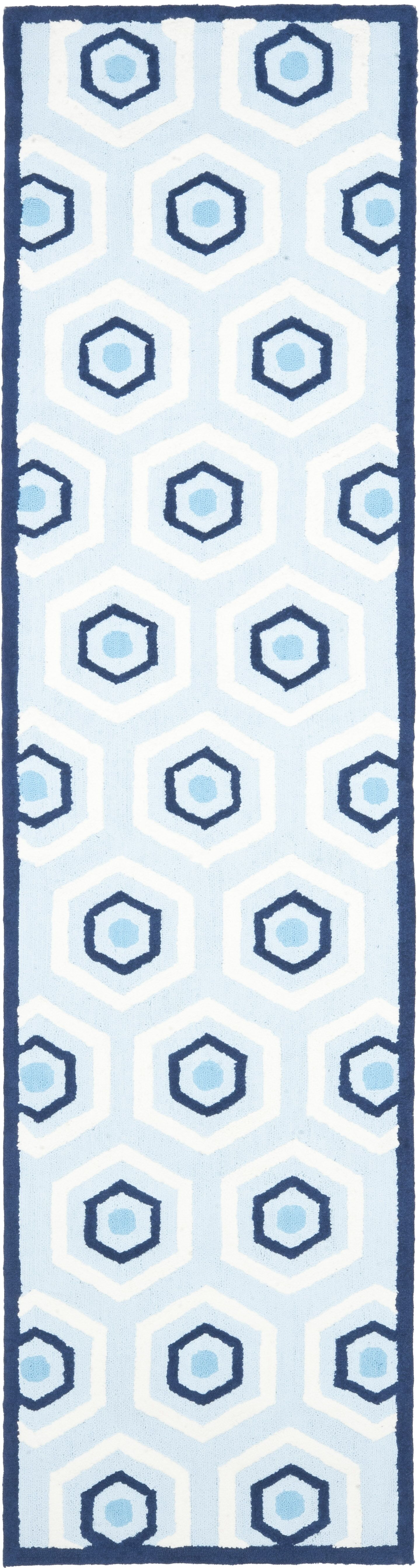 Claro Blue/Ivory Area Rug Rug Size: Runner 2'3