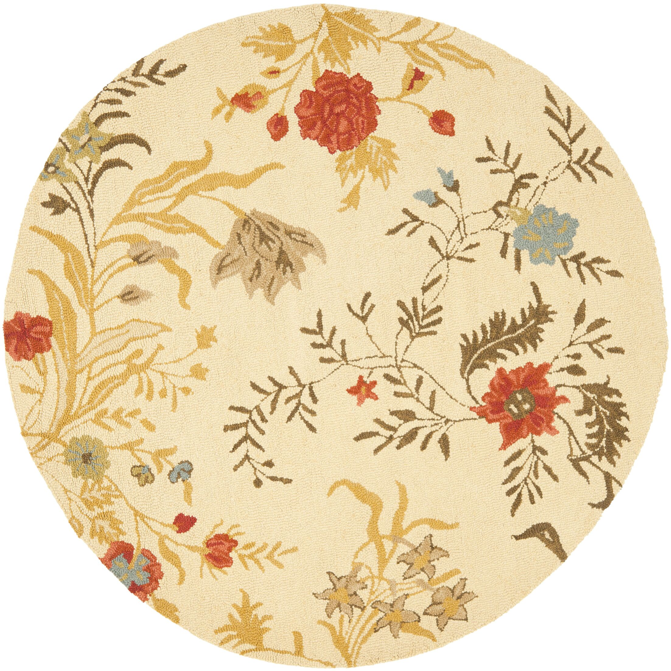 Beyonce Flower Beige / Multi Contemporary Rug Rug Size: Round 6'