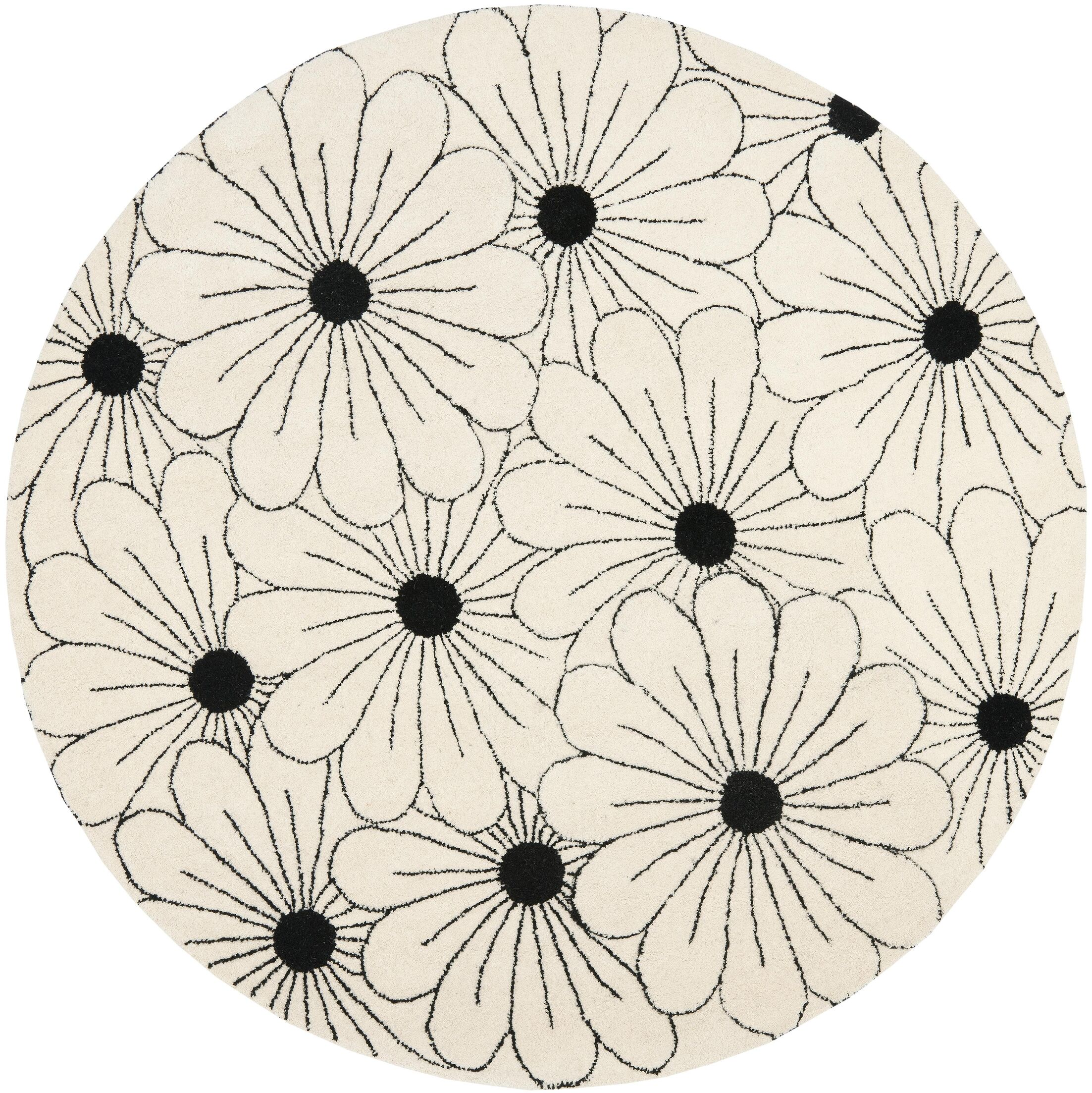 Lockwood Ivory / Black Contemporary Rug Rug Size: Round 6'